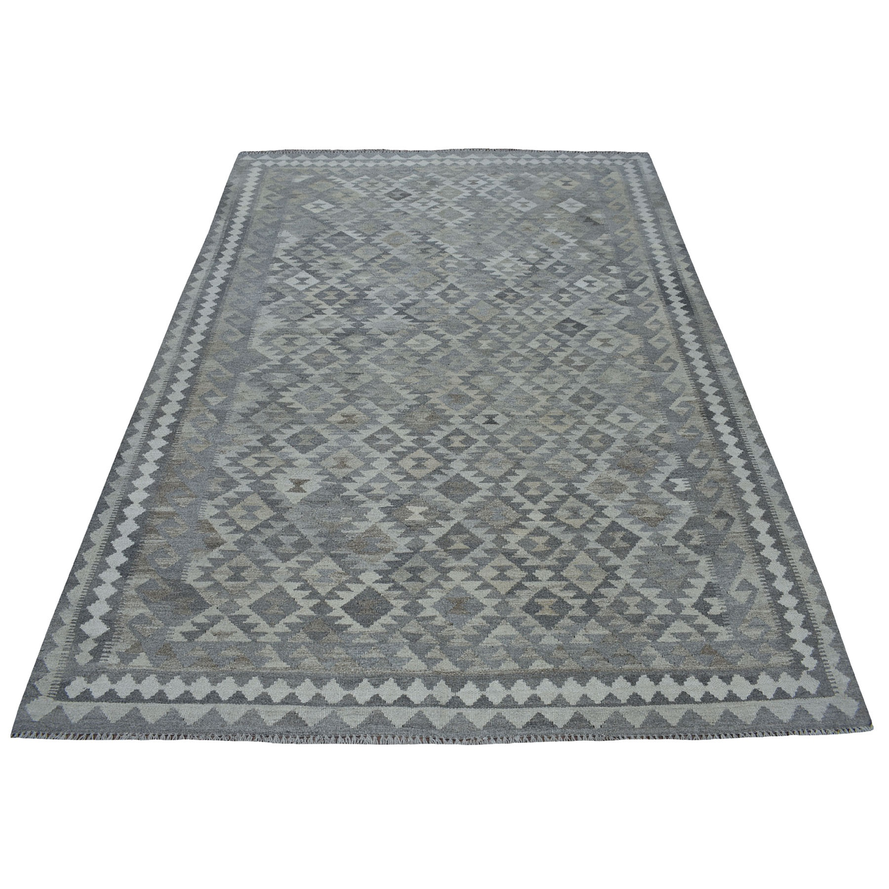 """5'7""""X8' Undyed Reversible Natural Wool Afghan Kilim Hand Woven Oriental Rug moaec0de"""
