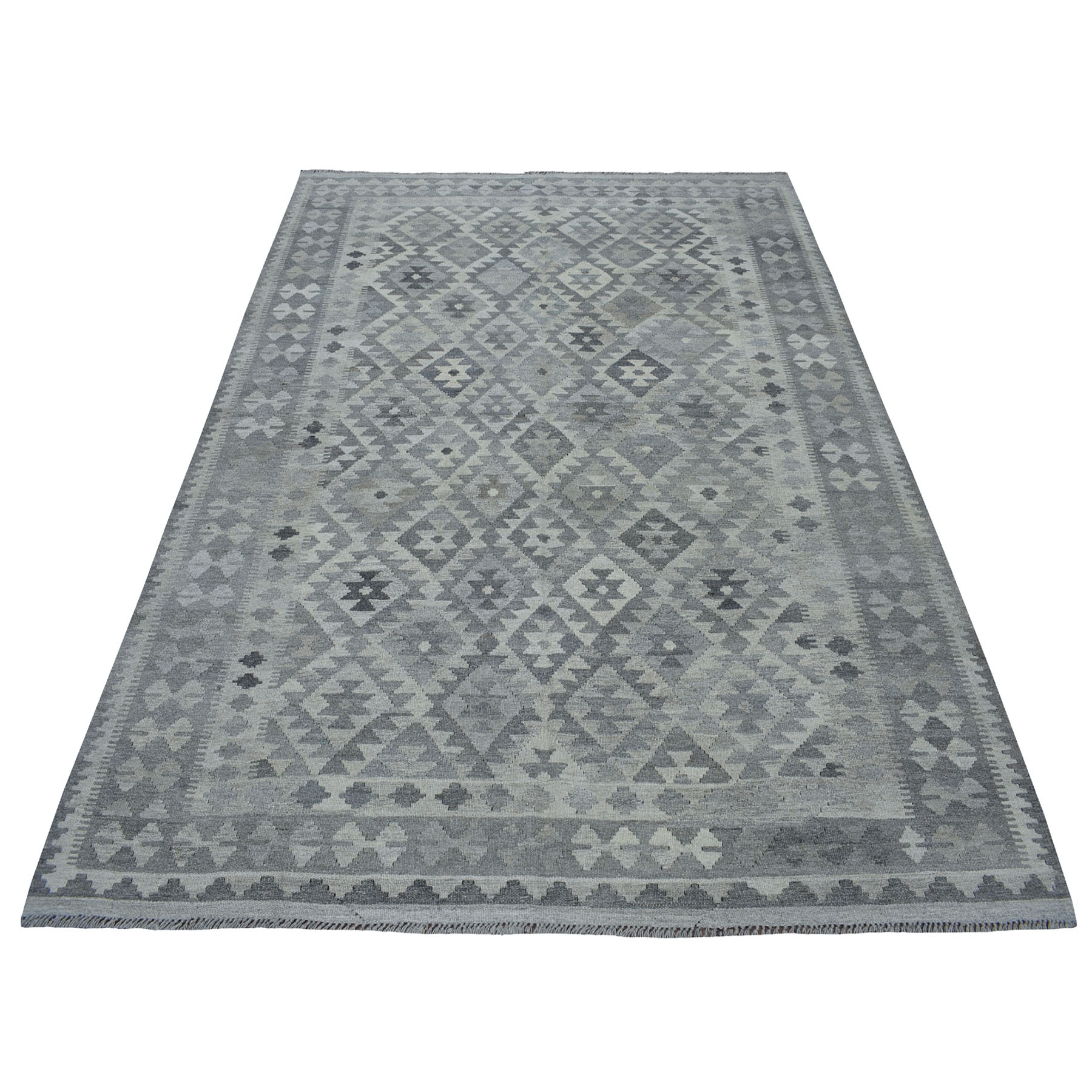 """5'6""""X7'10"""" Undyed Natural Wool Afghan Kilim Reversible Hand Woven Oriental Rug moaec0d6"""