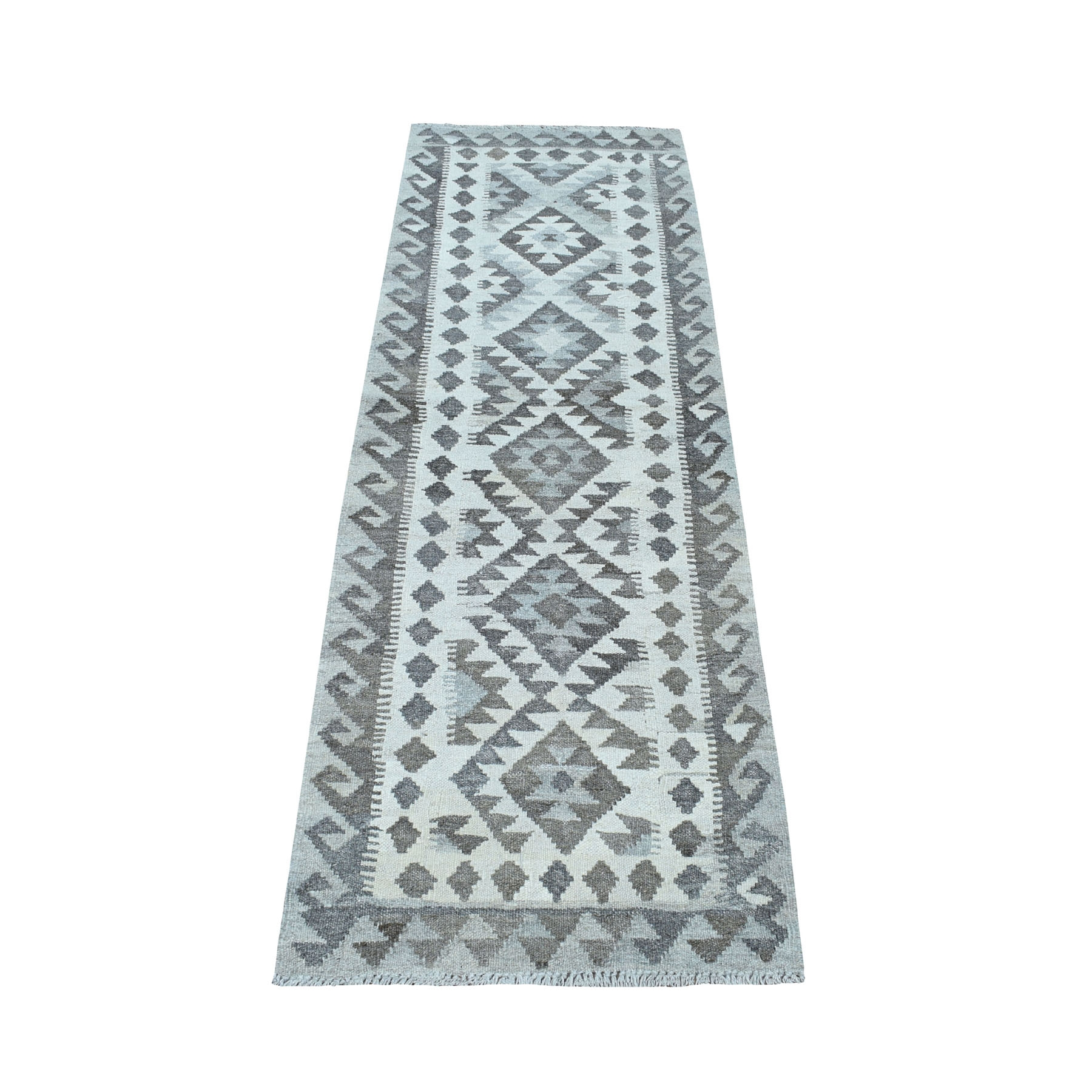 """2'1""""X6'5"""" Undyed Natural Wool Afghan Kilim Reversible Hand Woven Runner Oriental Rug moaec0e7"""