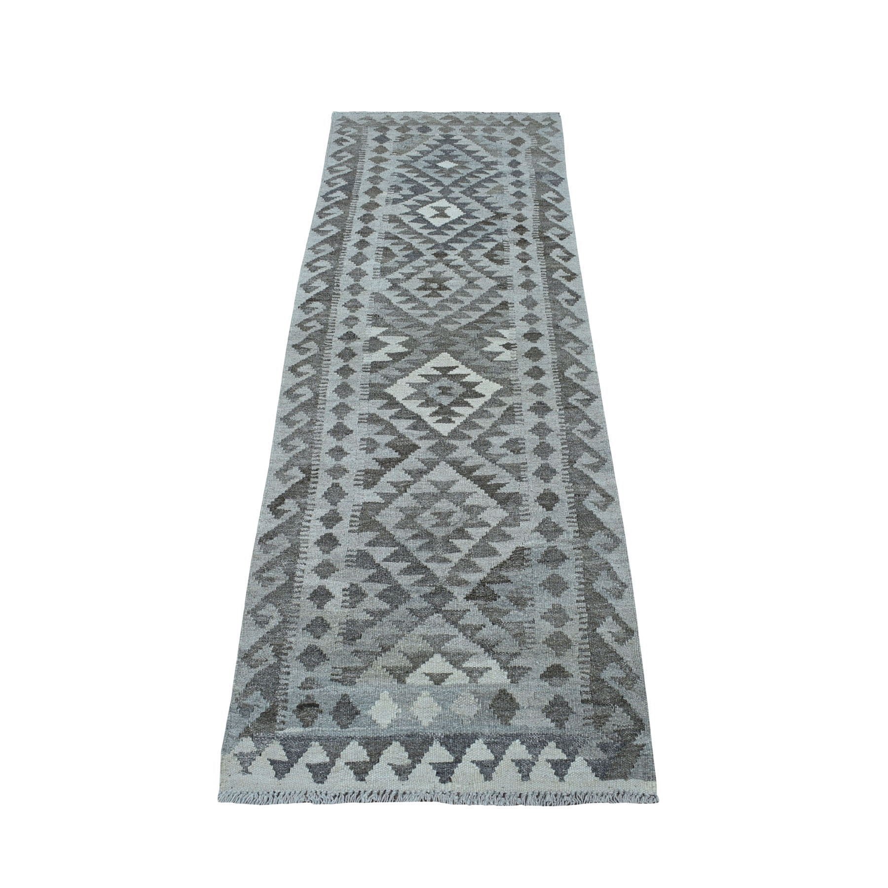 """2'1""""X6'3"""" Undyed Natural Wool Afghan Kilim Reversible Hand Woven Runner Oriental Rug moaec06a"""
