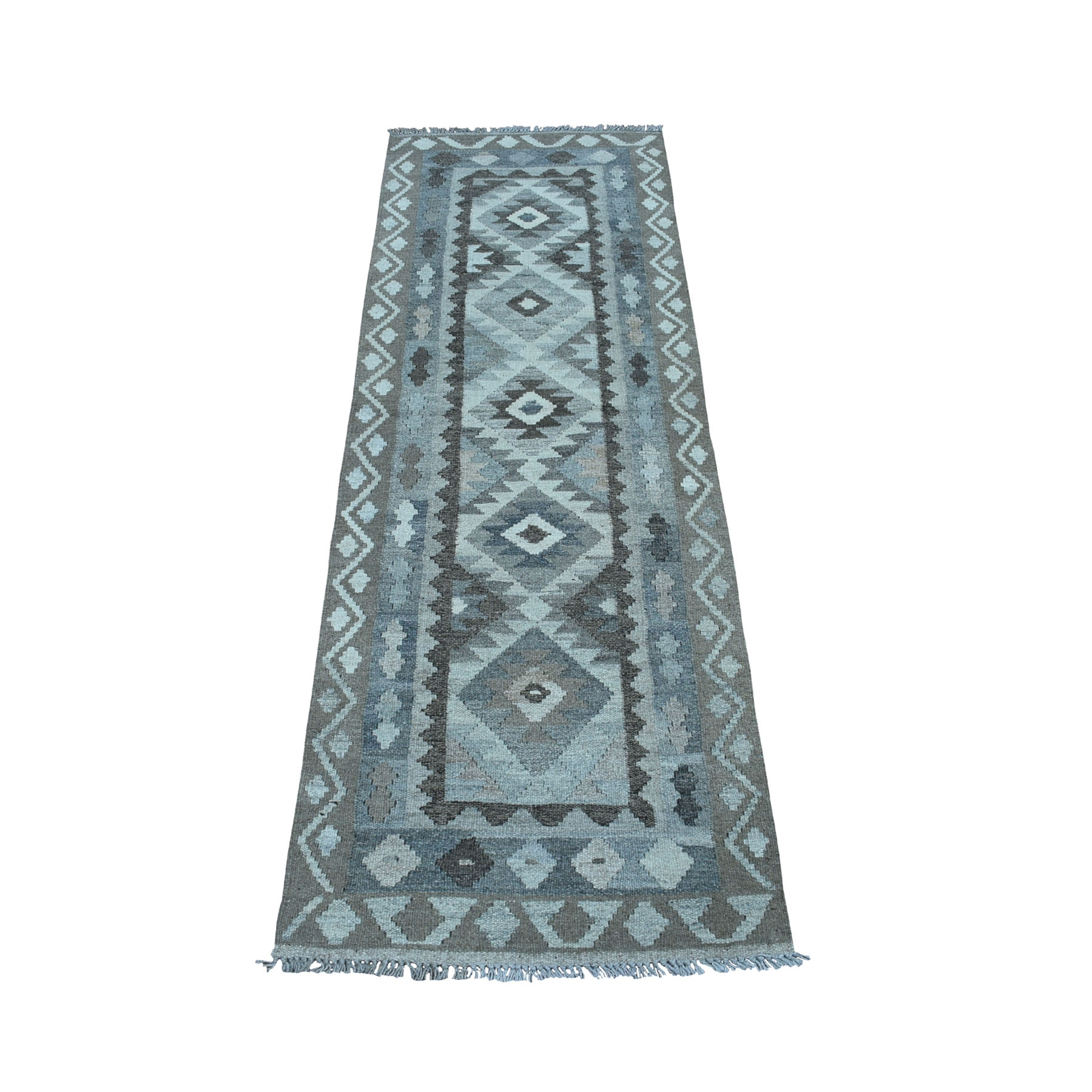 """2'1""""X6'2"""" Undyed Natural Wool Afghan Kilim Reversible Hand Woven Runner Oriental Rug moaec068"""