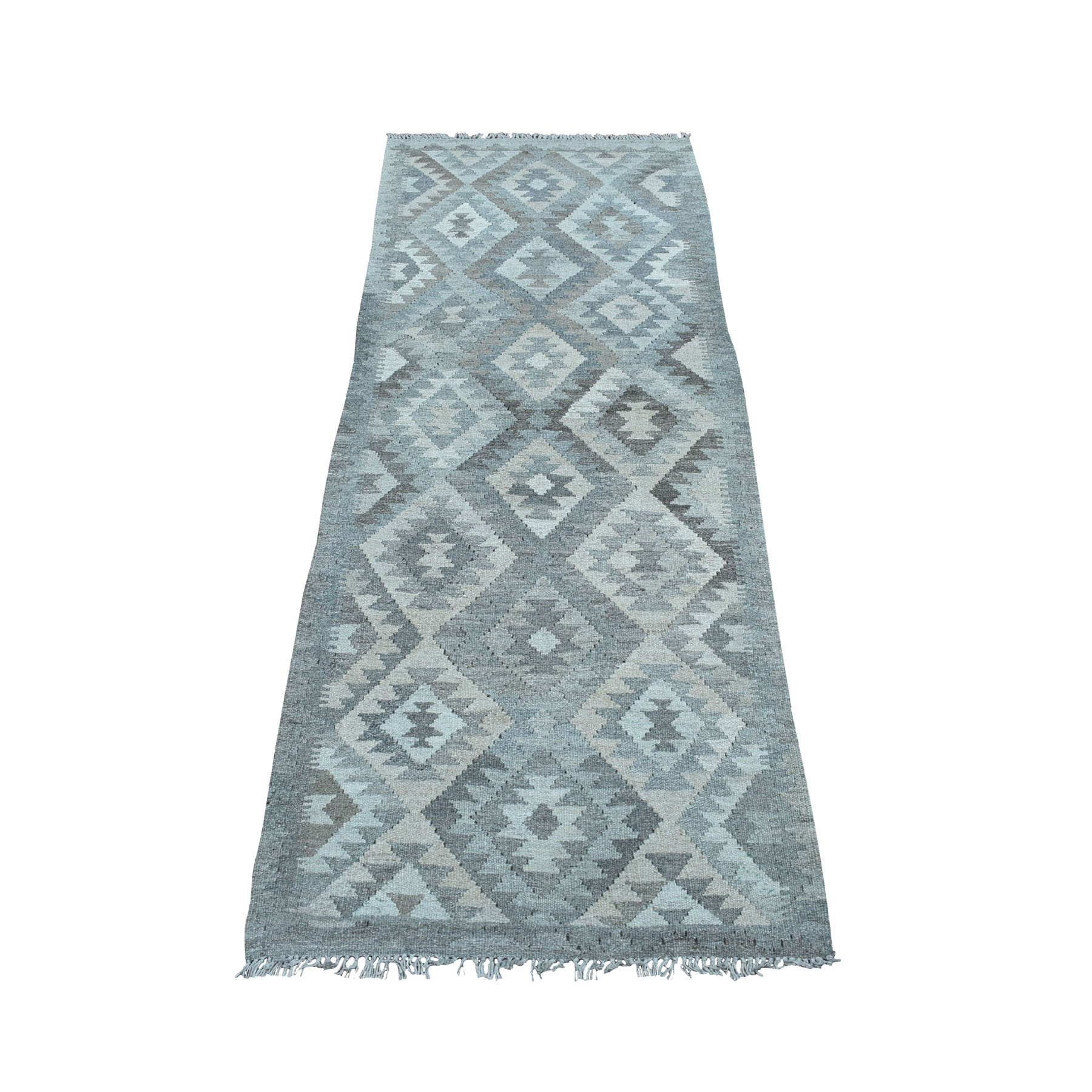 "2'5""x6'4"" Undyed Natural Wool Afghan Kilim Reversible Hand Woven Runner Oriental Rug 53077"