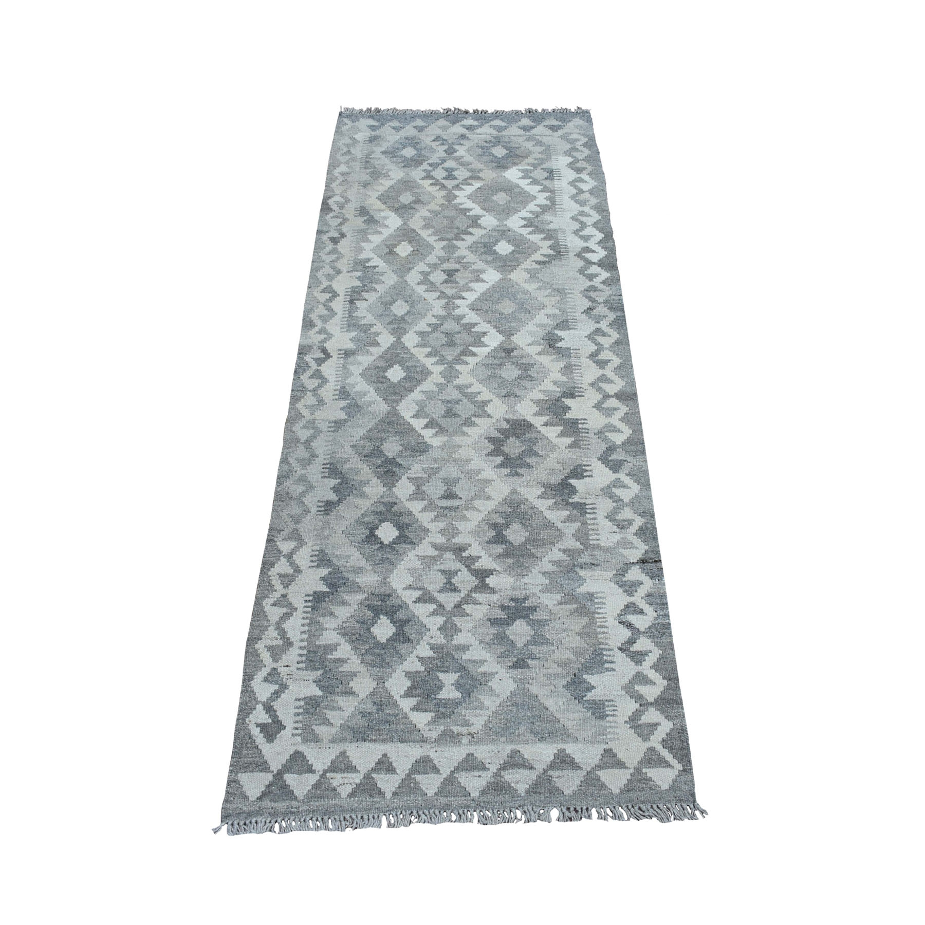 """2'5""""X6'4"""" Undyed Natural Wool Afghan Kilim Reversible Hand Woven Runner Oriental Rug moaec08a"""