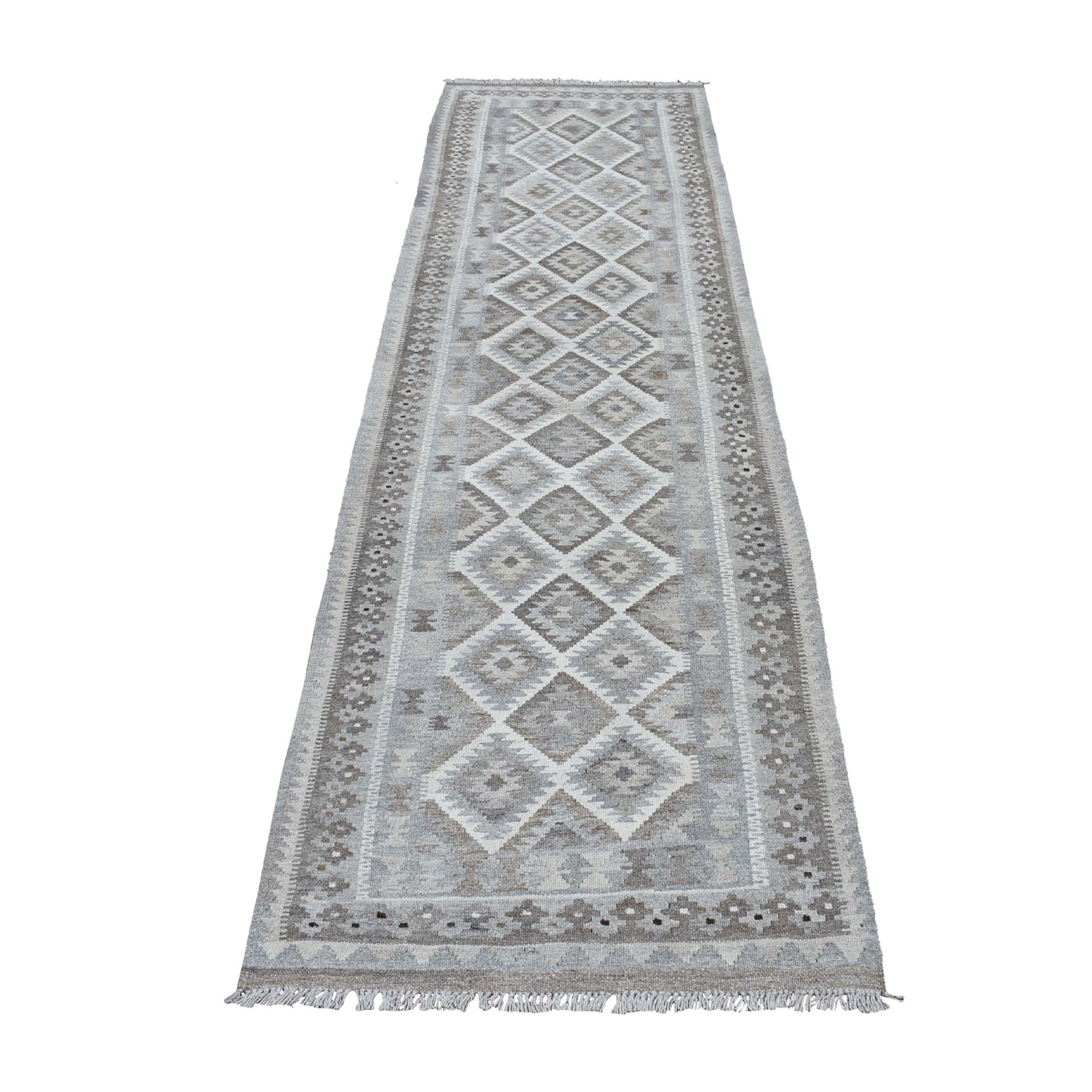 """2'10""""X9'7"""" Undyed Natural Wool Afghan Kilim Reversible Hand Woven Runner Oriental Rug moaec08c"""