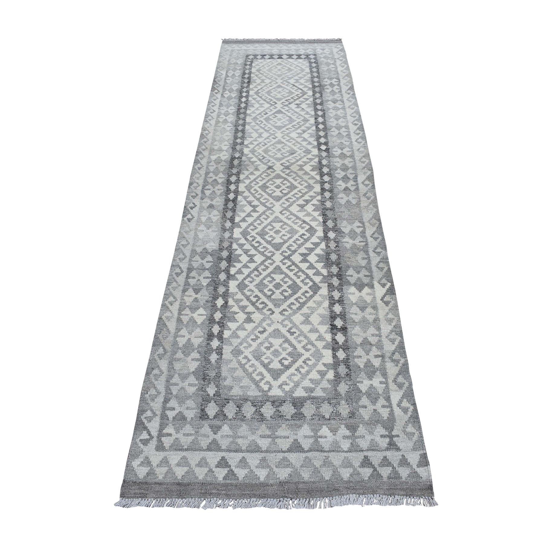 "2'10""x10' Undyed Natural Wool Afghan Kilim Reversible Hand Woven Runner Oriental Rug 53085"
