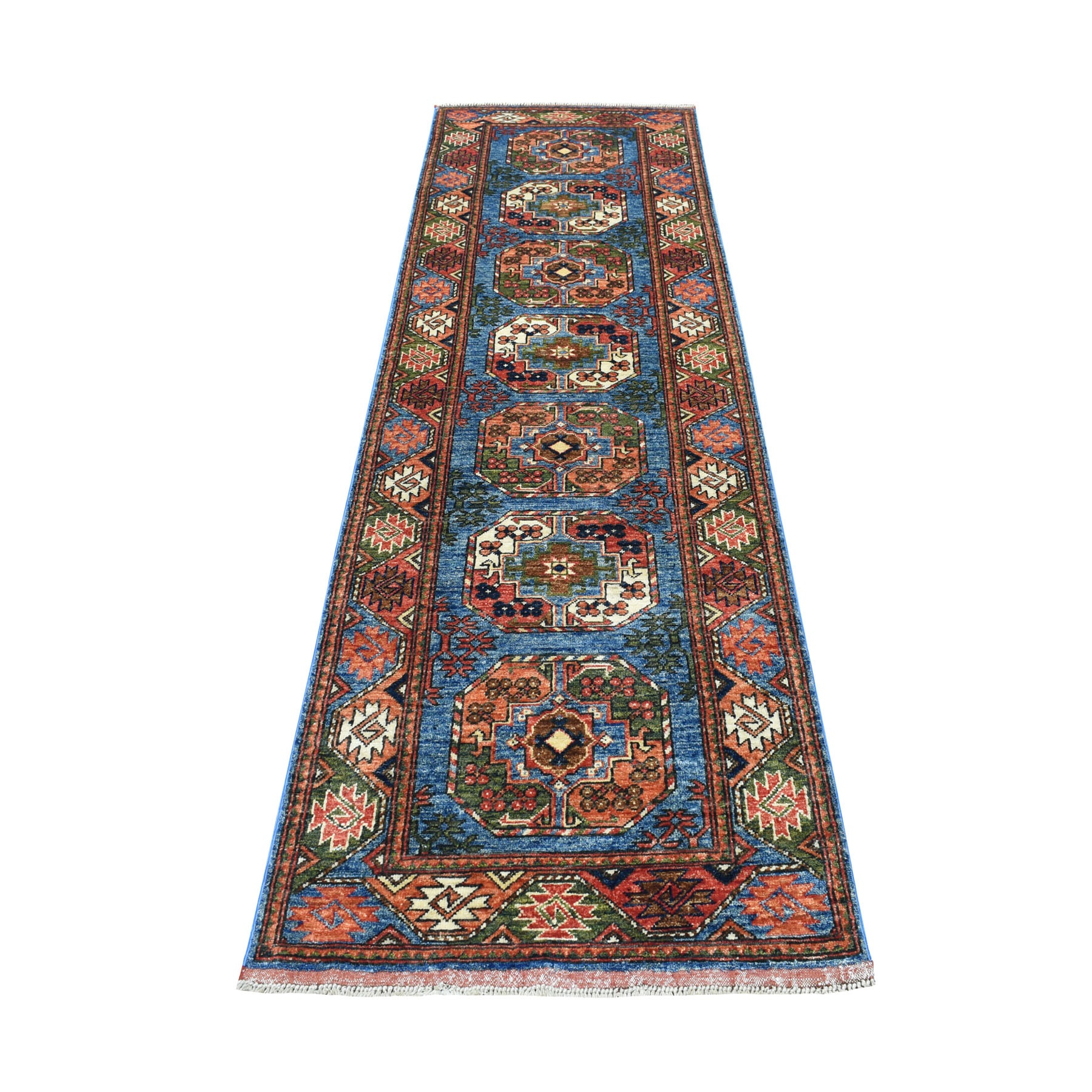 "2'8""X9'2"" Blue Afghan Ersari Runner Elephant Feet Design Pure Wool Hand Knotted Oriental Rug moaec09a"