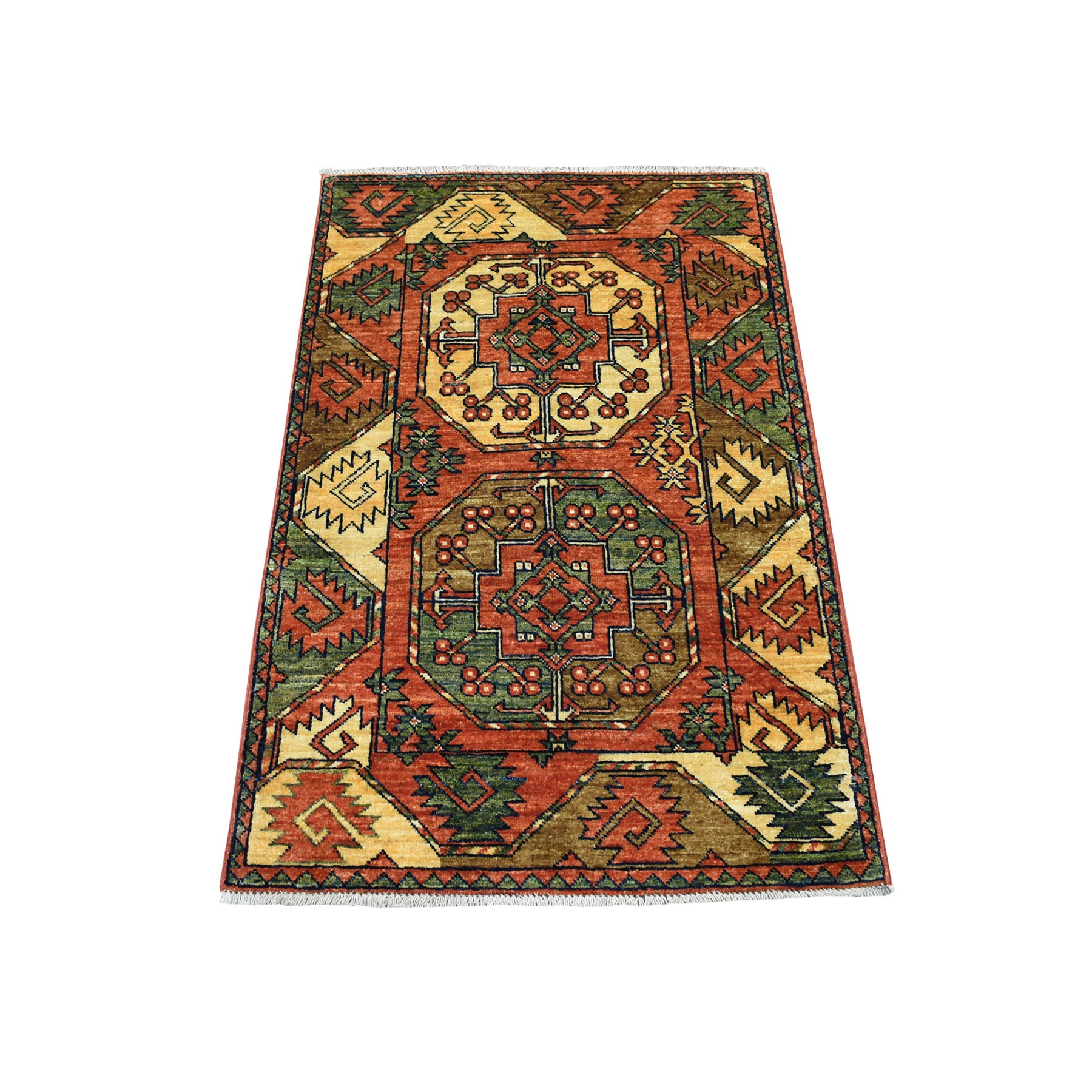"2'9""X4'1"" Afghan Ersari Natural Dyes Elephant Feet Design Pure Wool Hand Knotted Oriental Rug moaec09b"