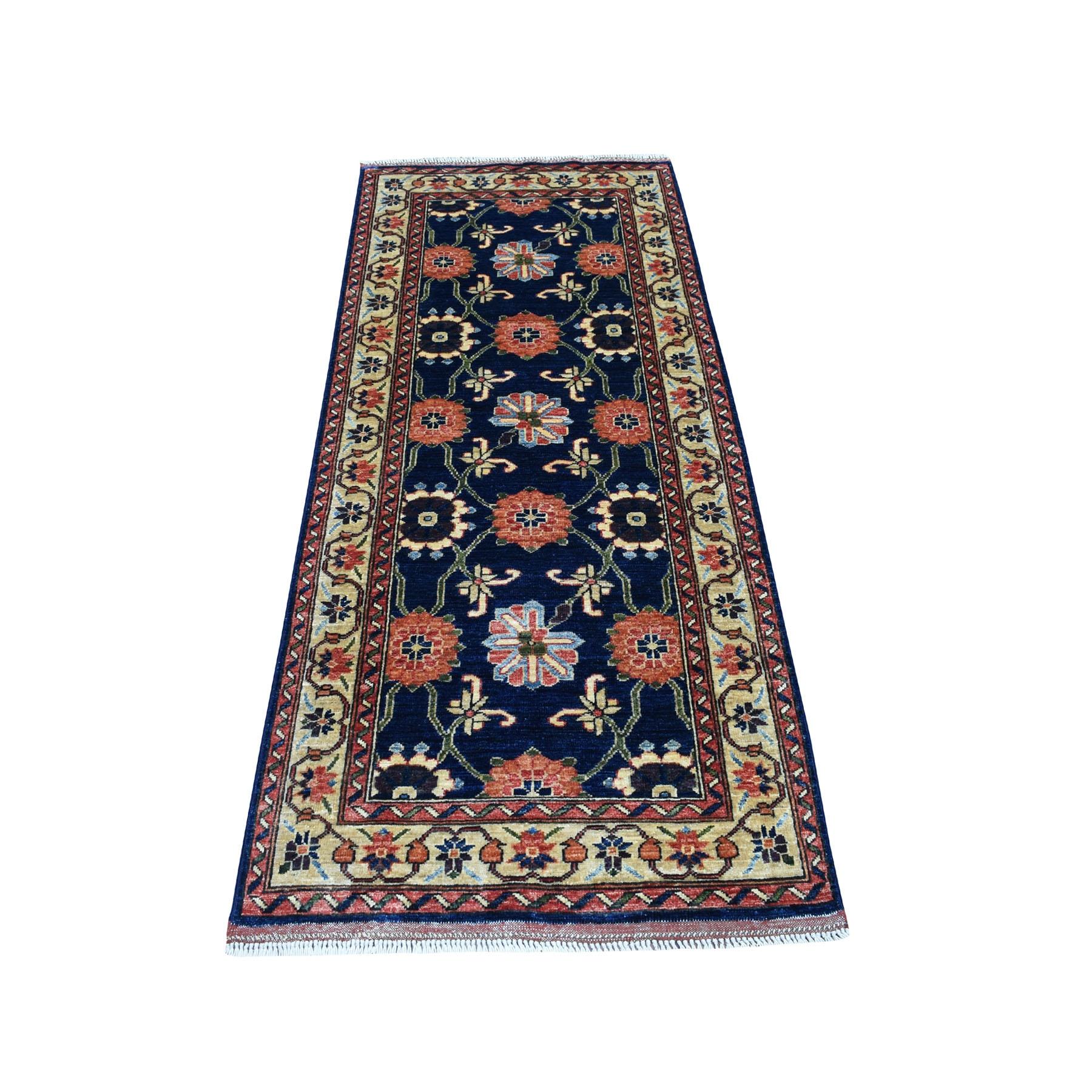 "2'8""X6'5"" Blue Afghan Ersari Runner Tribal Design Pure Wool Hand Knotted Oriental Rug moaec096"