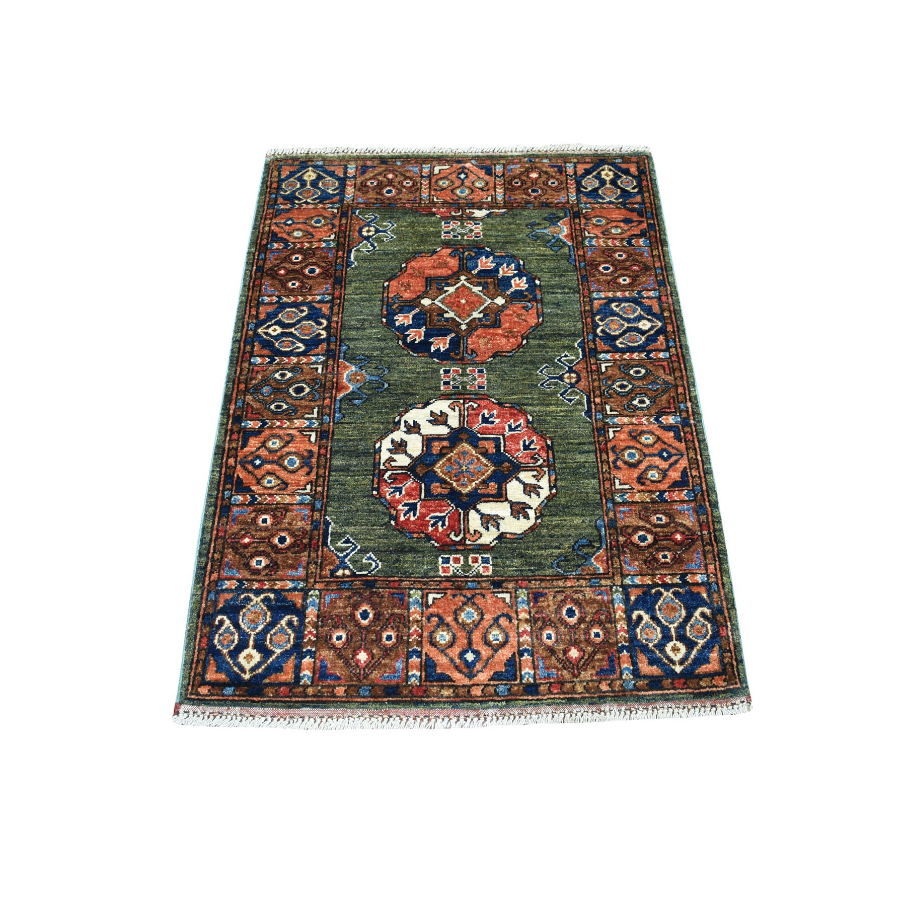 "2'10""X4' Afghan Ersari Natural Dyes Elephant Feet Design Pure Wool Hand Knotted Oriental Rug moaec099"