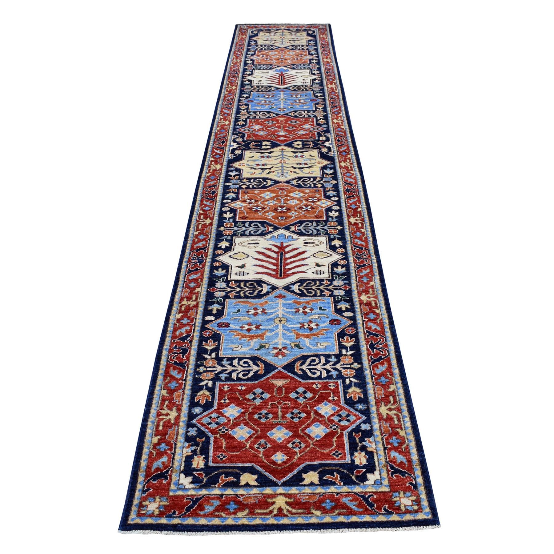 "2'7""X14'10"" Blue Peshawar With Akstafa Design Pure Wool Hand Knotted Runner Oriental Rug moaeca00"