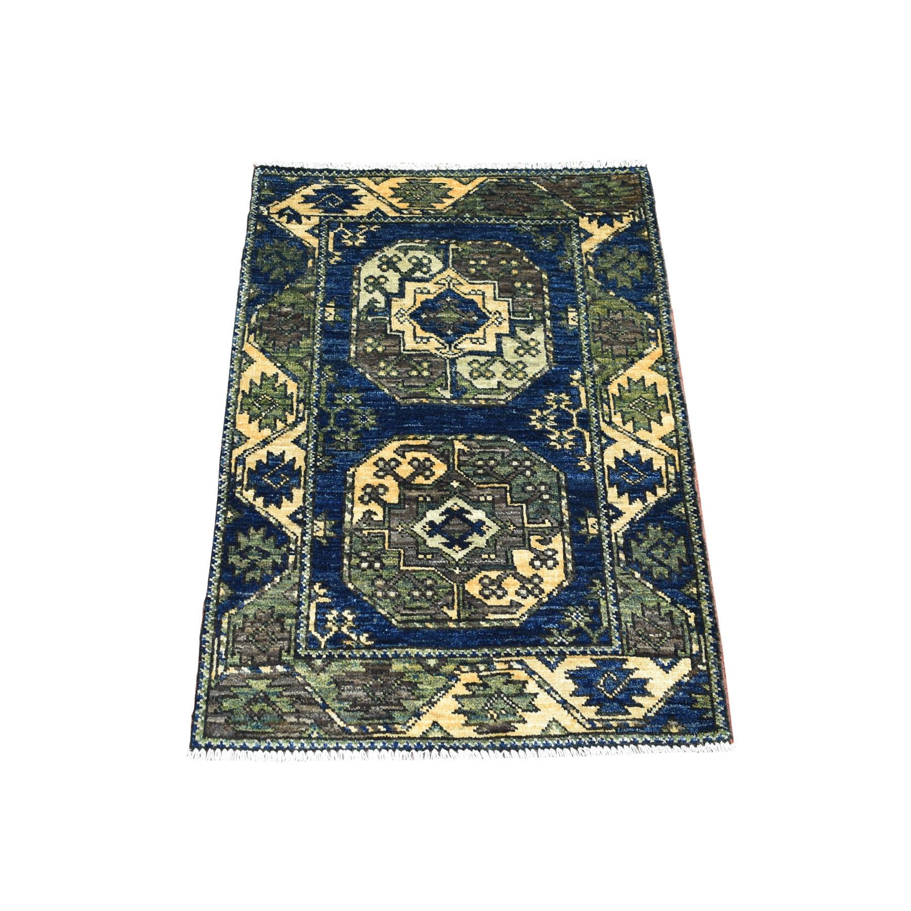 "2'X2'10"" Blue Afghan Ersari Elephant Feet Design Hand Knotted Pure Wool Oriental Rug moaeca06"