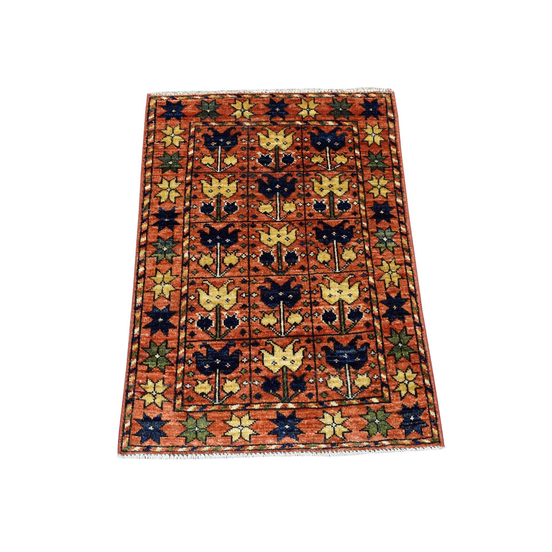 "2'x2'10"" Orange Afghan Ersari Tribal Design Hand Knotted Pure Wool Oriental Rug 53107"