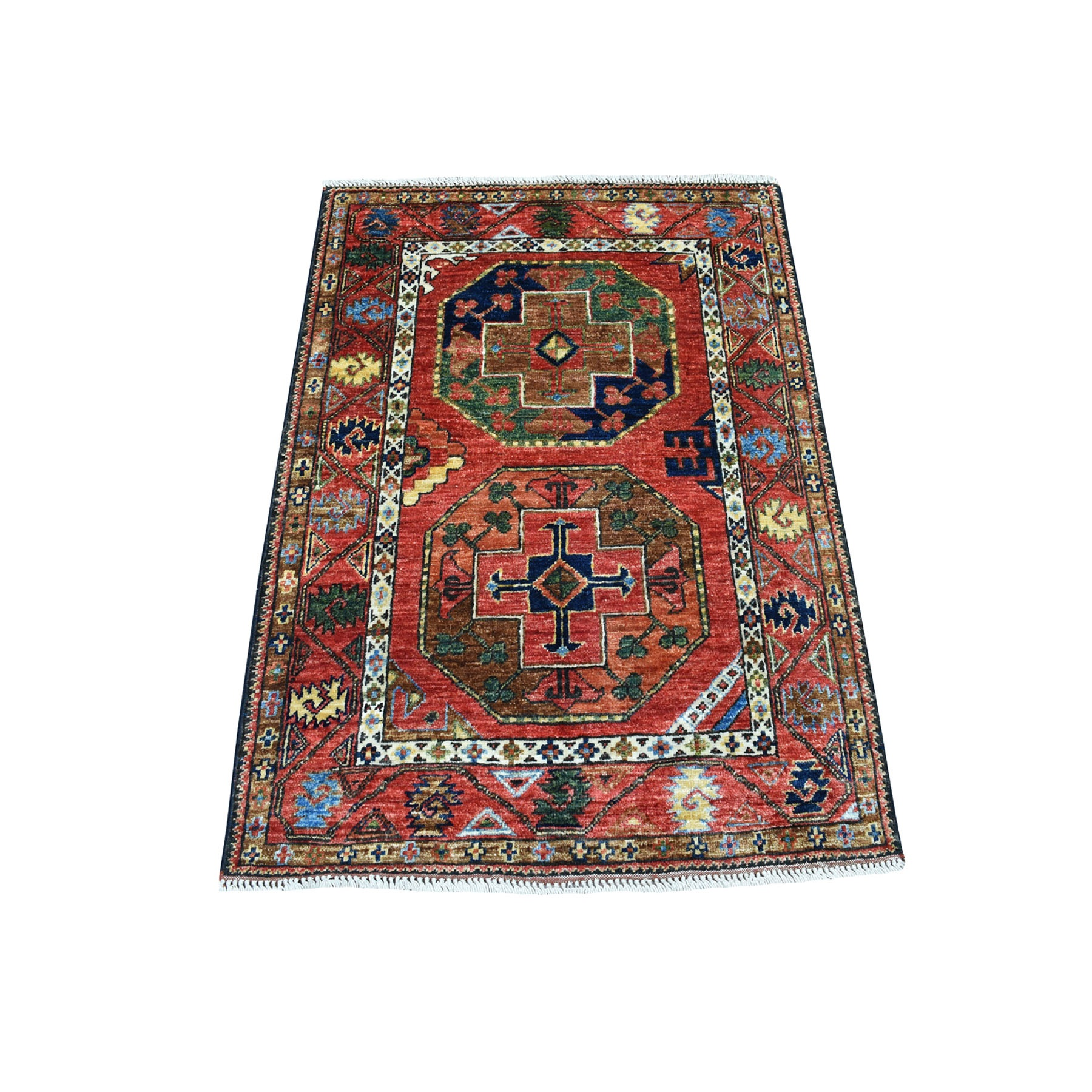 "2'10""X4' Red Afghan Ersari Elephant Feet Design Hand Knotted Pure Wool Oriental Rug moaeca09"