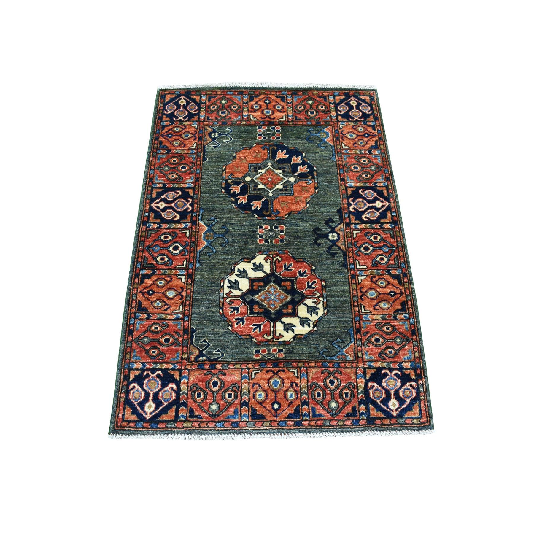 "2'8""X3'9"" Green Afghan Ersari Elephant Feet Design Hand Knotted Pure Wool Oriental Rug moaecaa0"