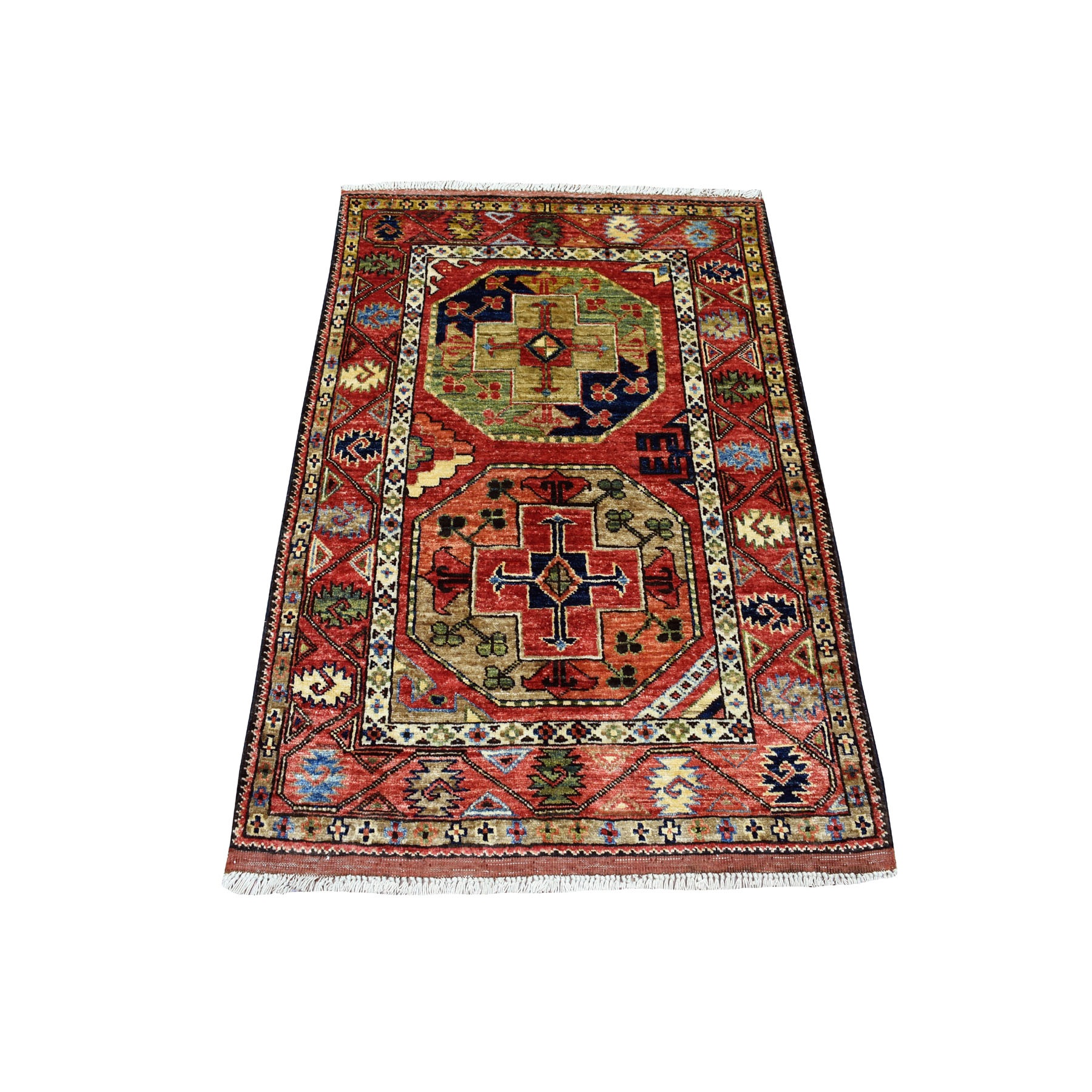 "2'9""X4'1"" Red Afghan Ersari Elephant Feet Design Pure Wool Hand Knotted Oriental Rug moaecaaa"
