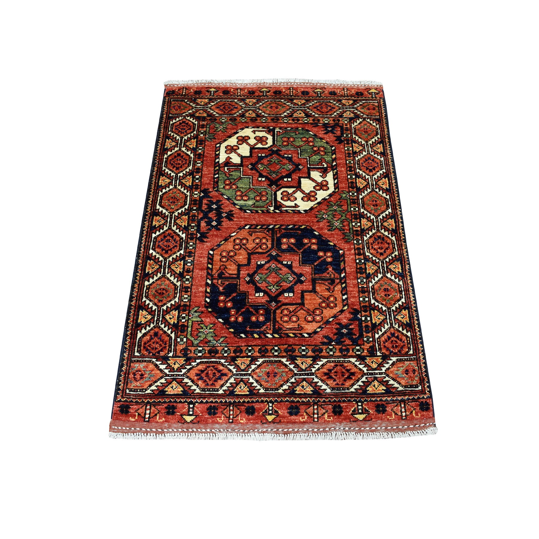 "2'8""X4' Red Afghan Ersari Elephant Feet Design Pure Wool Hand Knotted Oriental Rug moaecaab"