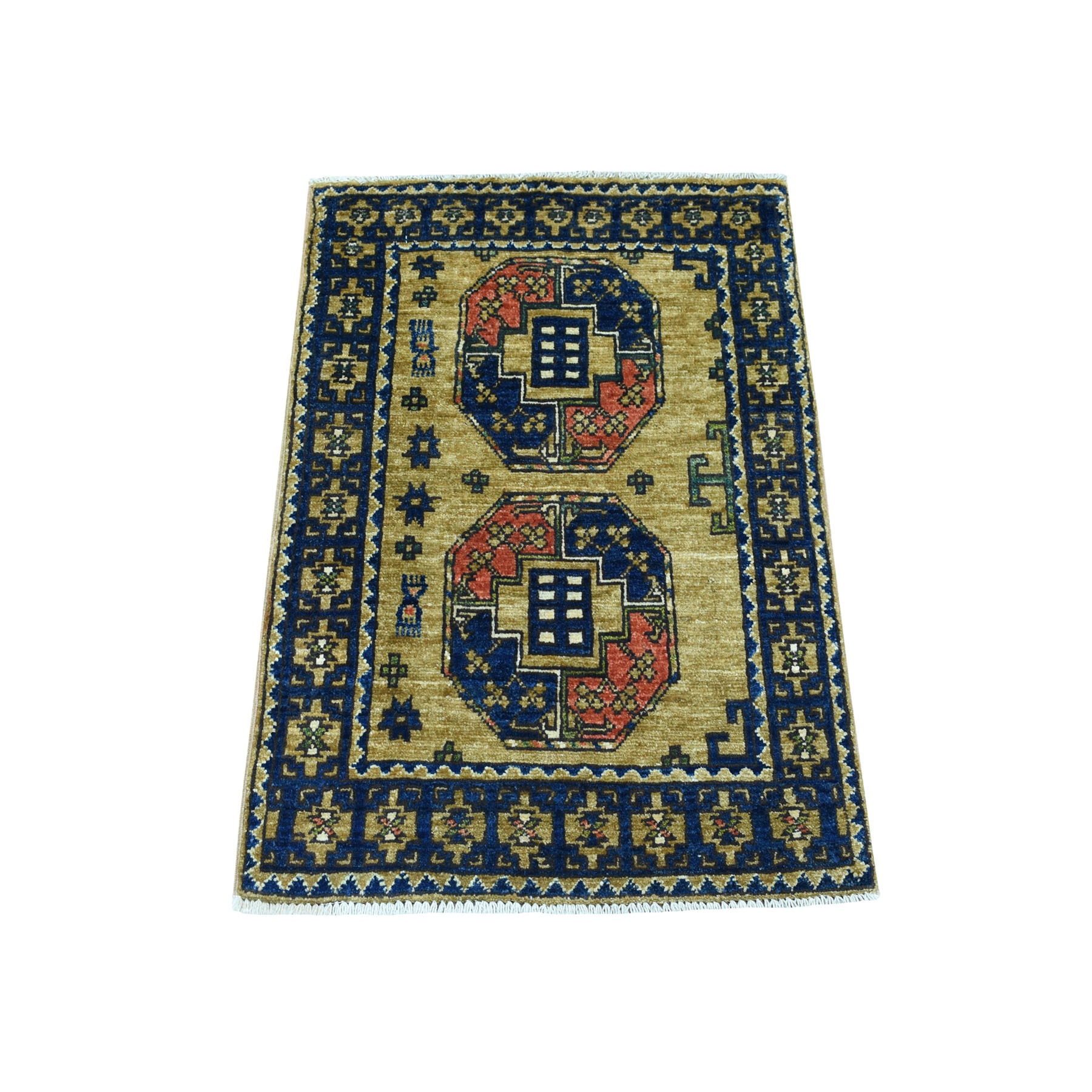 "1'10""x2'10"" Yellow Afghan Ersari Elephant Feet Design Pure Wool Hand Knotted Oriental Rug"