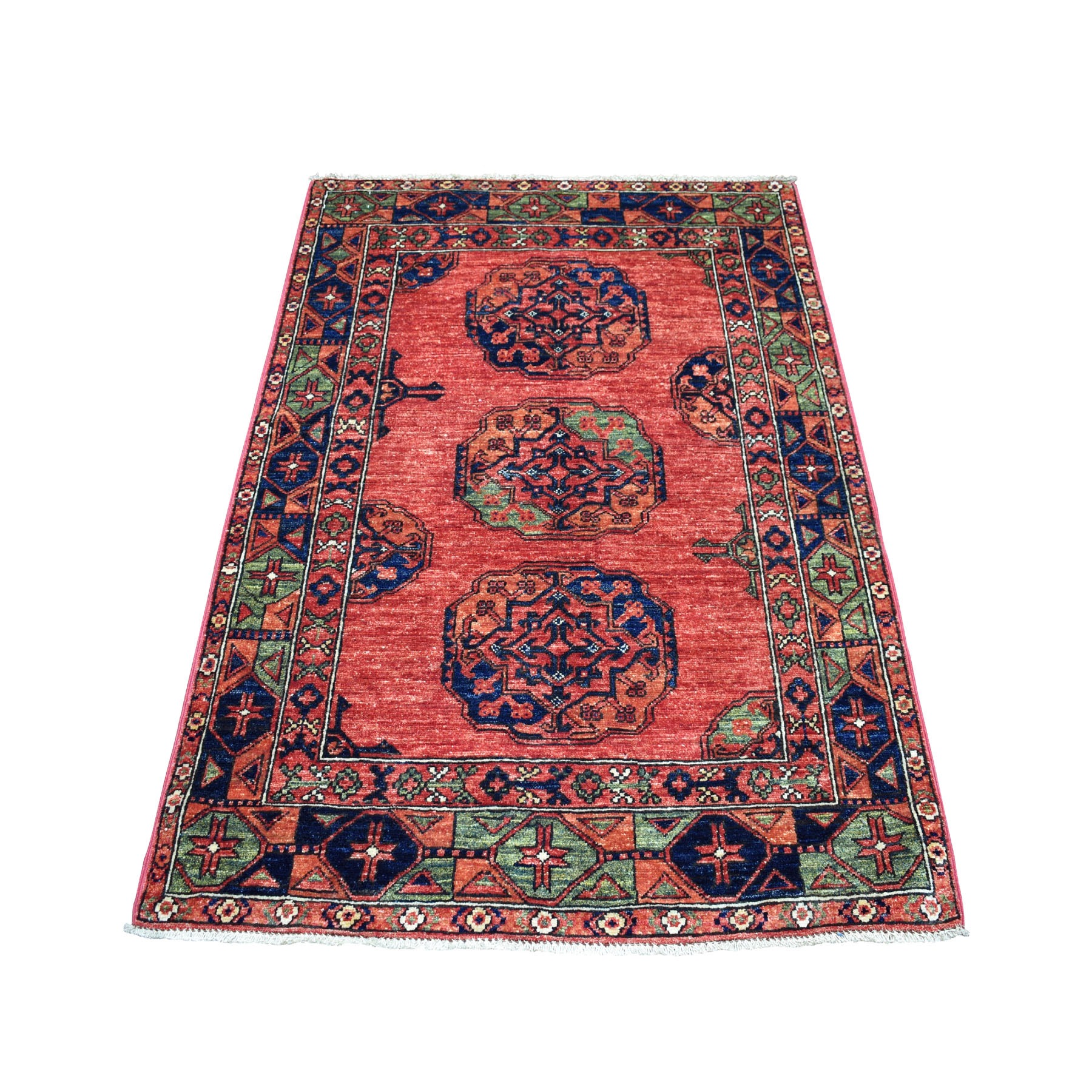 "3'4""X5' Red Afghan Ersari Elephant Feet Design Pure Wool Hand Knotted Oriental Rug moaecaa9"