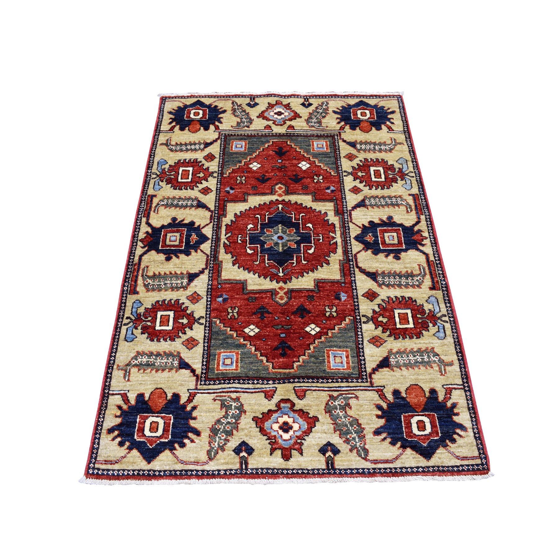 "3'3""X4'10"" Red Afghan Ersari Heriz Design Pure Wool Hand Knotted Oriental Rug moaecab0"
