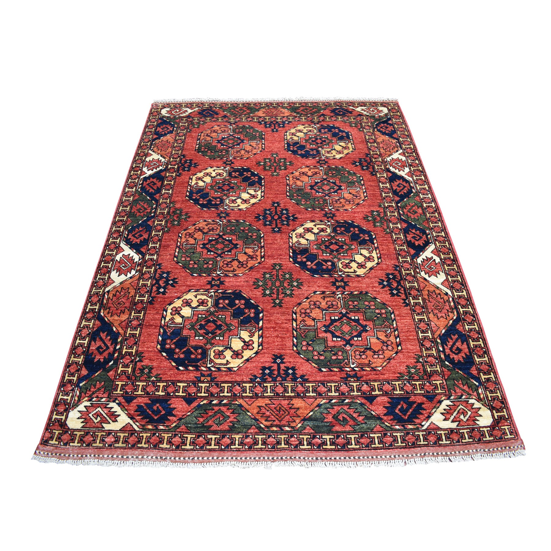"5'X6'9"" Red Afghan Ersari Elephant Feet Design Pure Wool Hand Knotted Oriental Rug moaecaba"