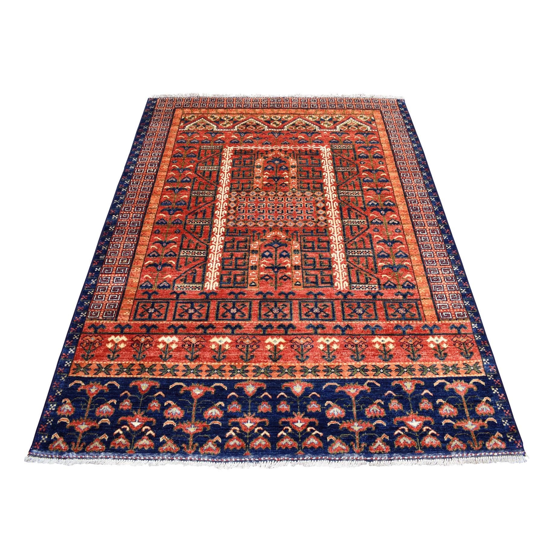 "4'10""x6'4"" Red Afghan Ersari Prayer Design Pure Wool Hand Knotted Oriental Rug 53122"