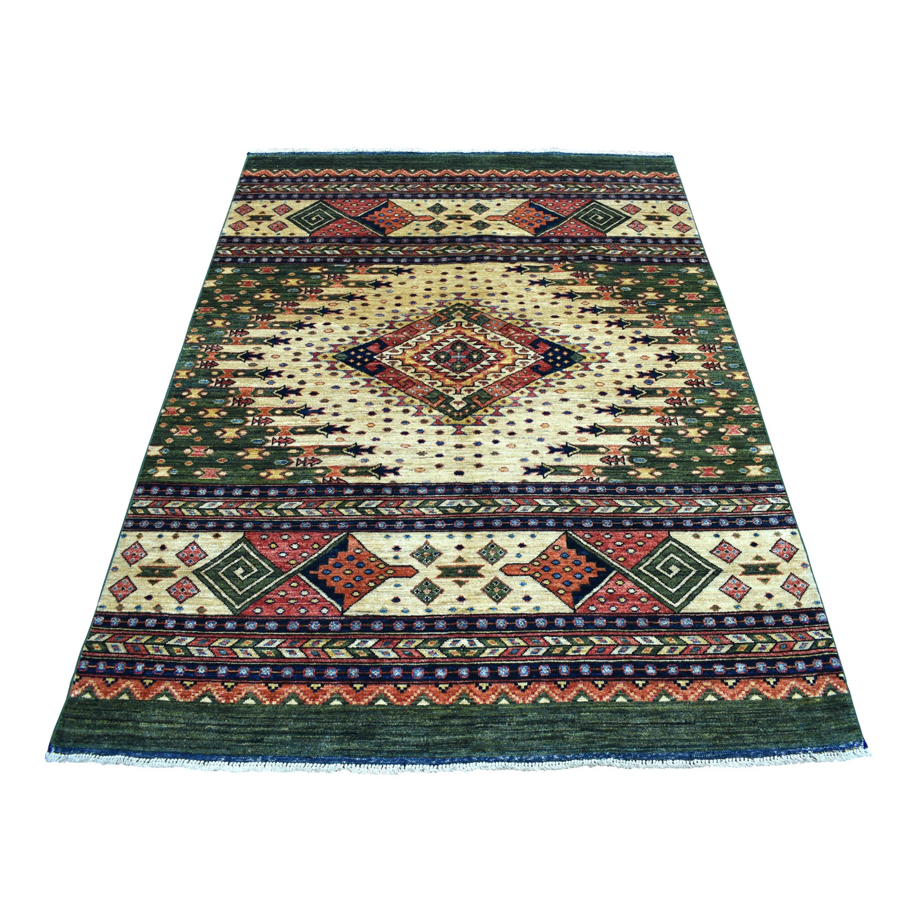 "4'10""X6'3"" Green Afghan Ersari Geometric Design Pure Wool Hand Knotted Oriental Rug moaecabc"