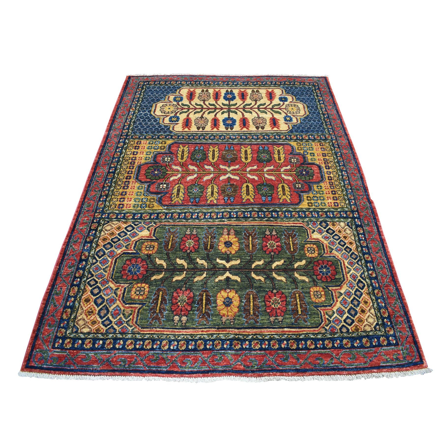 "5'1""x7' Red Afghan Ersari Geometric Design Pure Wool Hand Knotted Oriental Rug 53124"