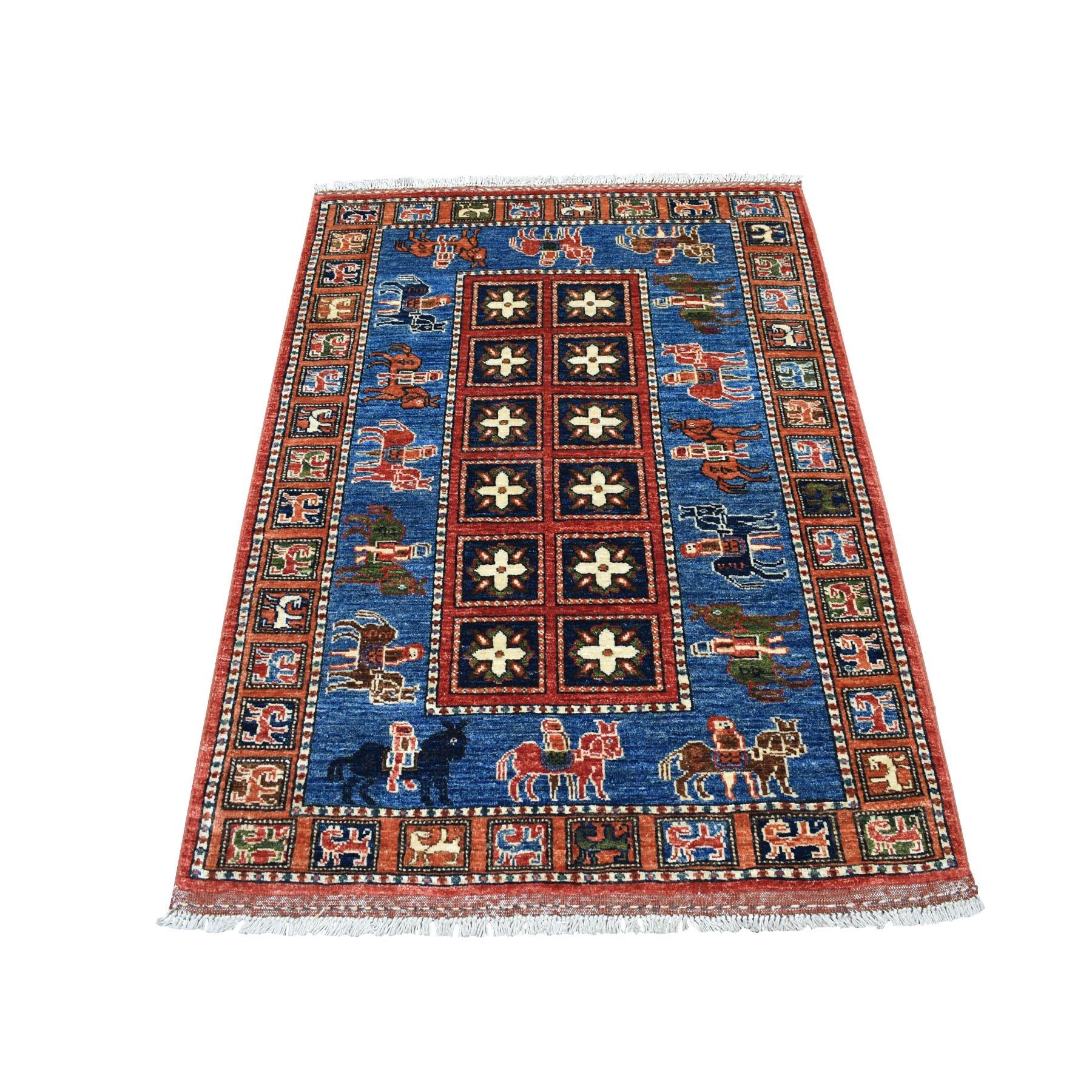 "3'4""X4'8"" Blue Afghan Ersari Pazyryk Design Pure Wool Hand Knotted Oriental Rug moaecabe"