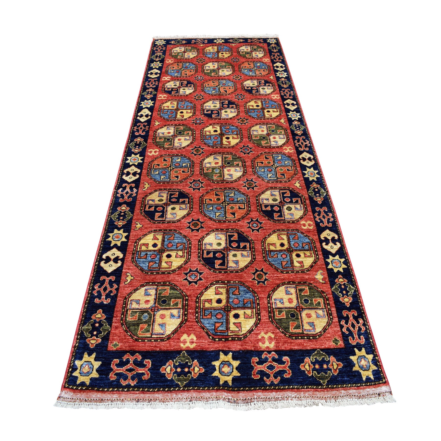 "4'X10'2"" Red Afghan Turkoman Ersari Wide Runner Tekke Design Hand Knotted Pure Wool Oriental Rug moaecab6"