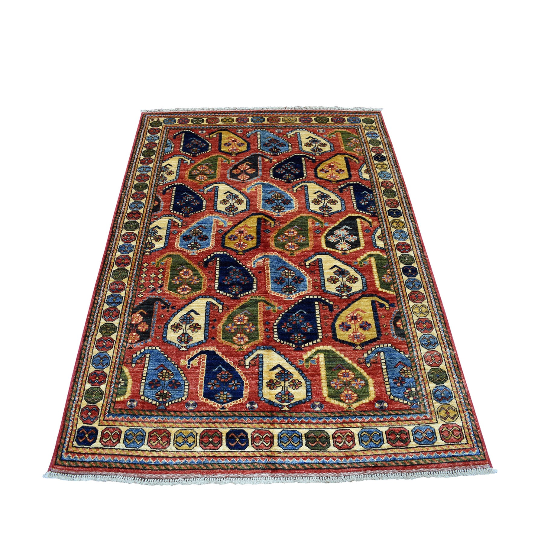 """4'1""""X6'1"""" Red Afghan Turkoman Ersari Paisley Design Hand Knotted Pure Wool Oriental Rug moaecab7"""
