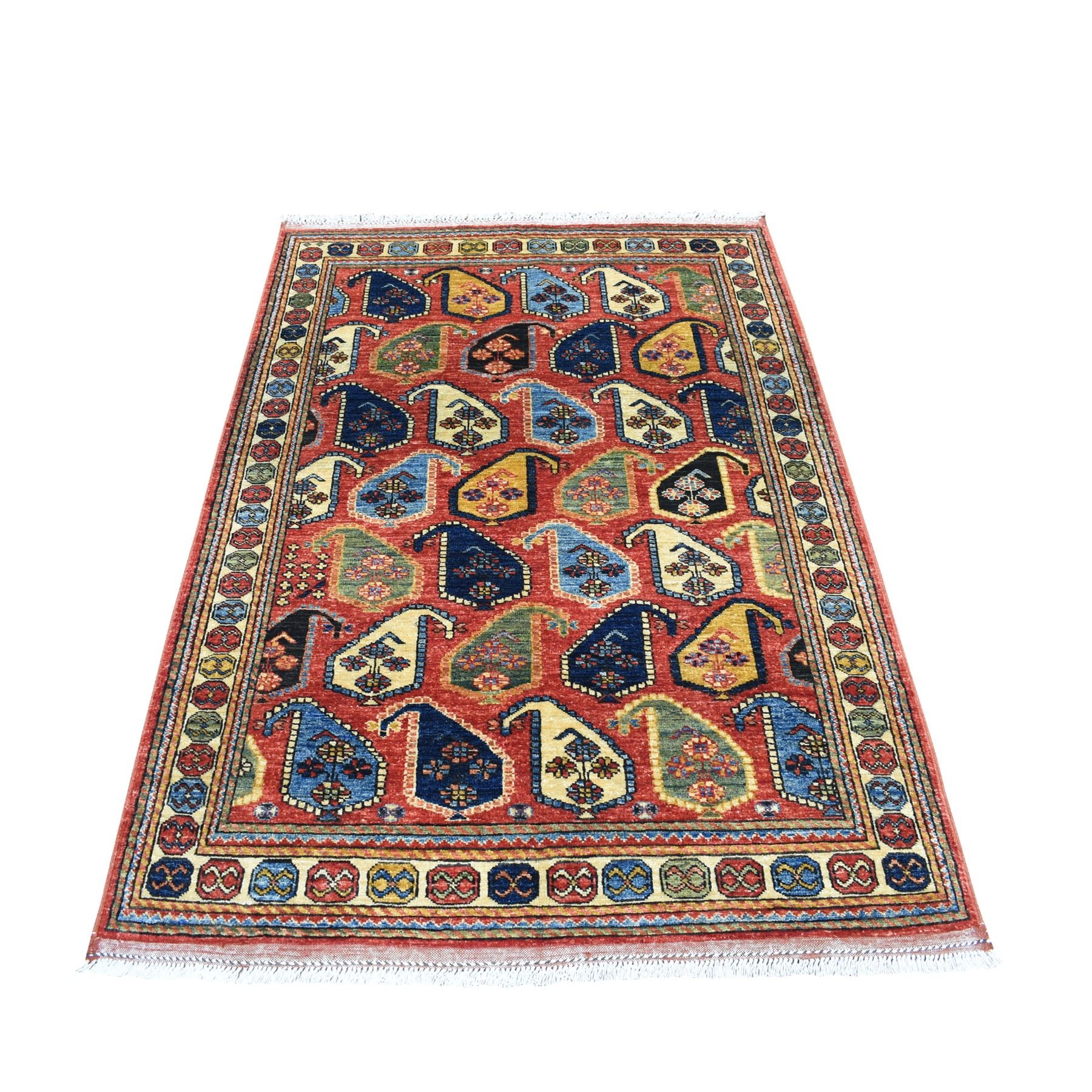 "4'X5'10"" Red Afghan Turkoman Ersari Paisley Design Hand Knotted Pure Wool Oriental Rug moaecac0"