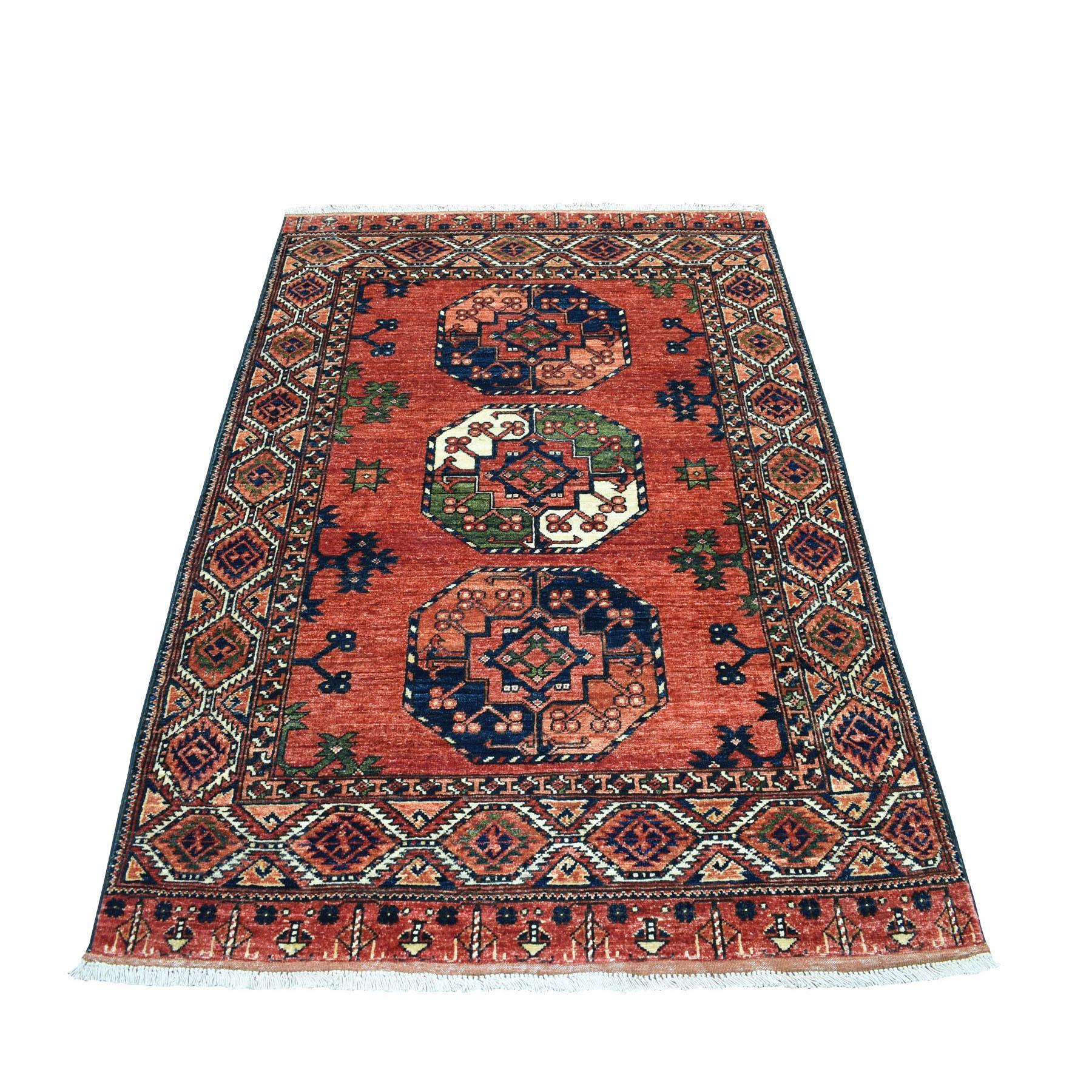 4'x6' Red Afghan Turkoman Ersari Elephant Feet Design Pure Wool Hand Knotted Oriental Rug 53131