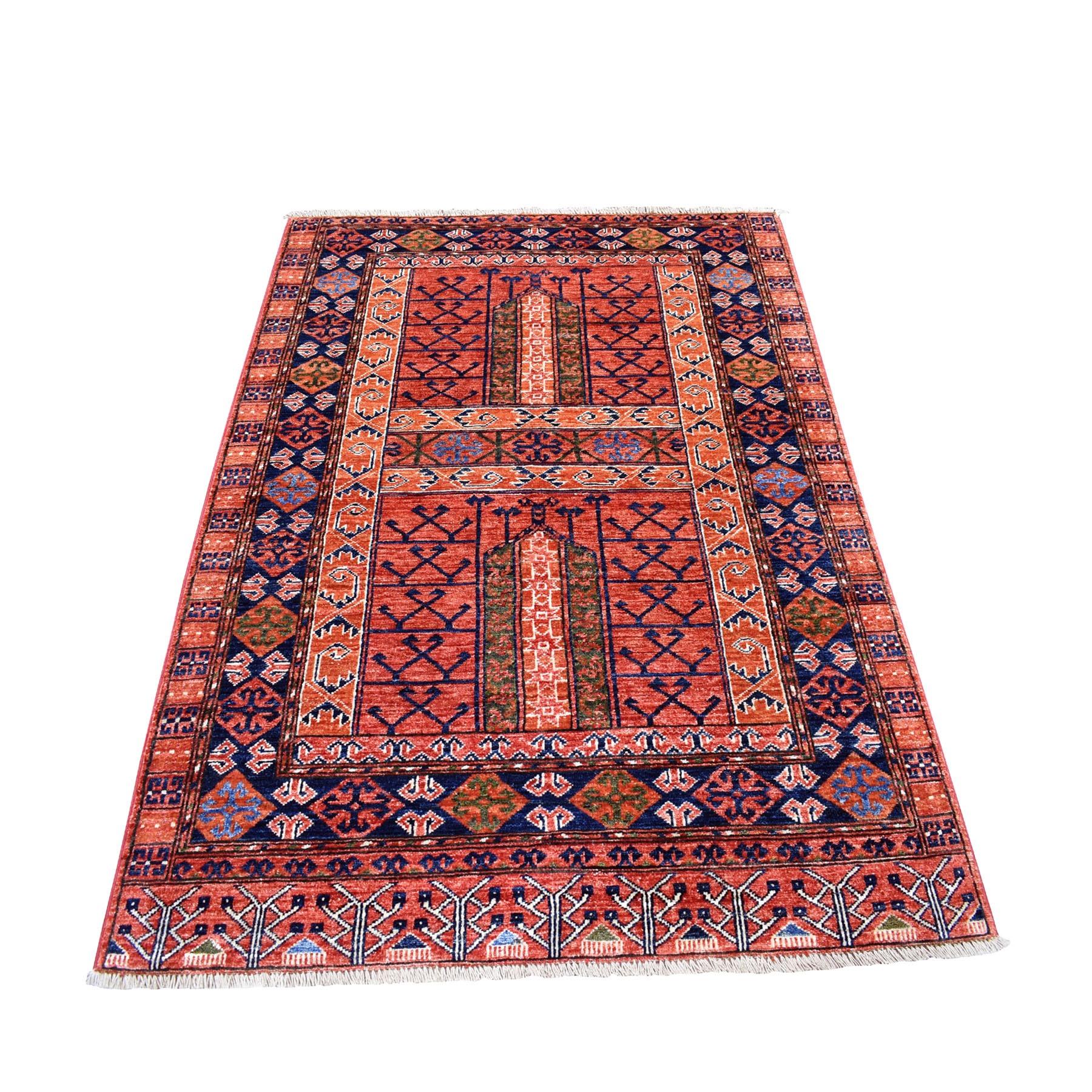 "4'X5'9"" Red Afghan Turkoman Ersari Hutchlu Design Pure Wool Hand Knotted Oriental Rug moaecacb"