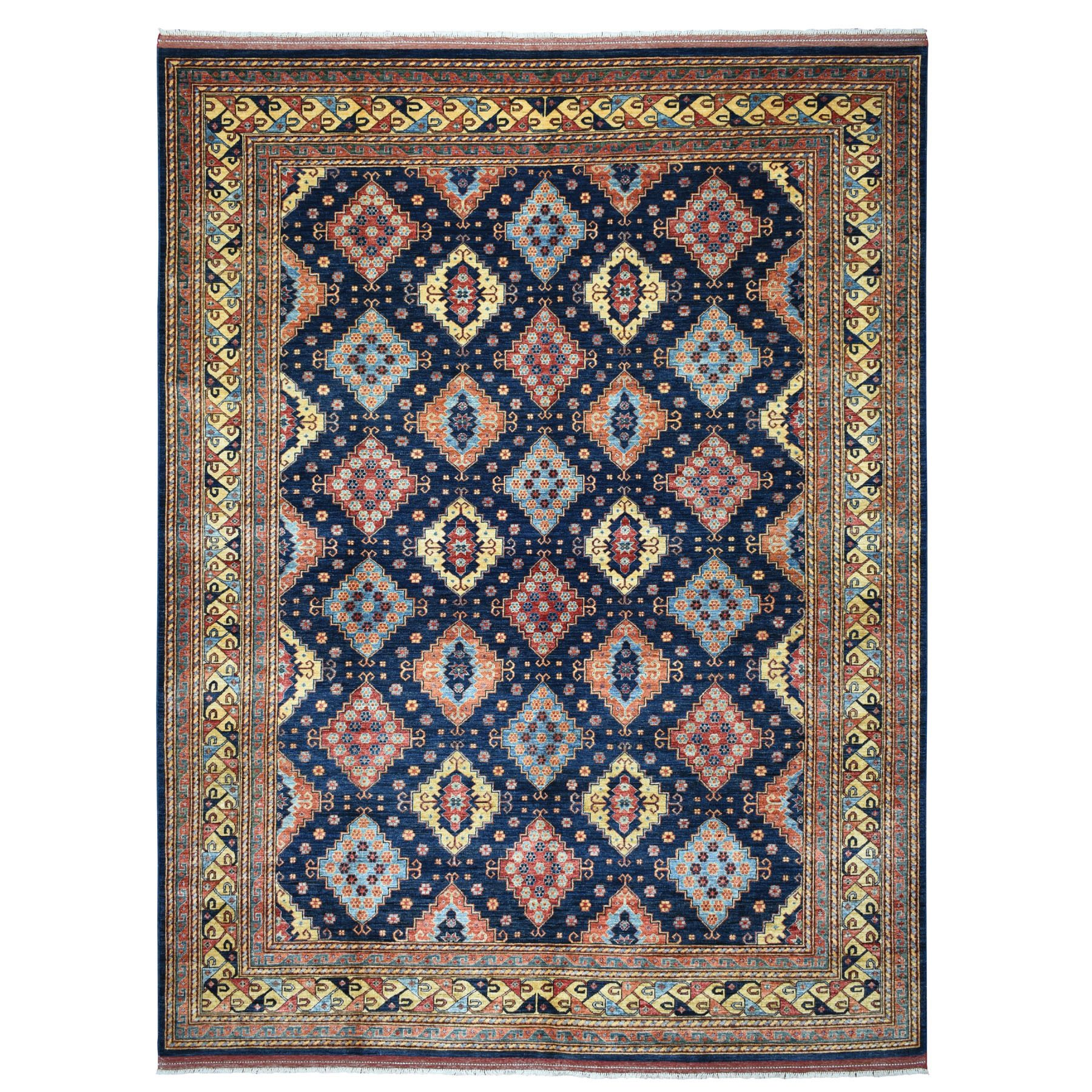 """9'X11'9"""" Blue Afghan Turkoman Ersari All Over Design Pure Wool Hand Knotted Oriental Rug moaecac8"""