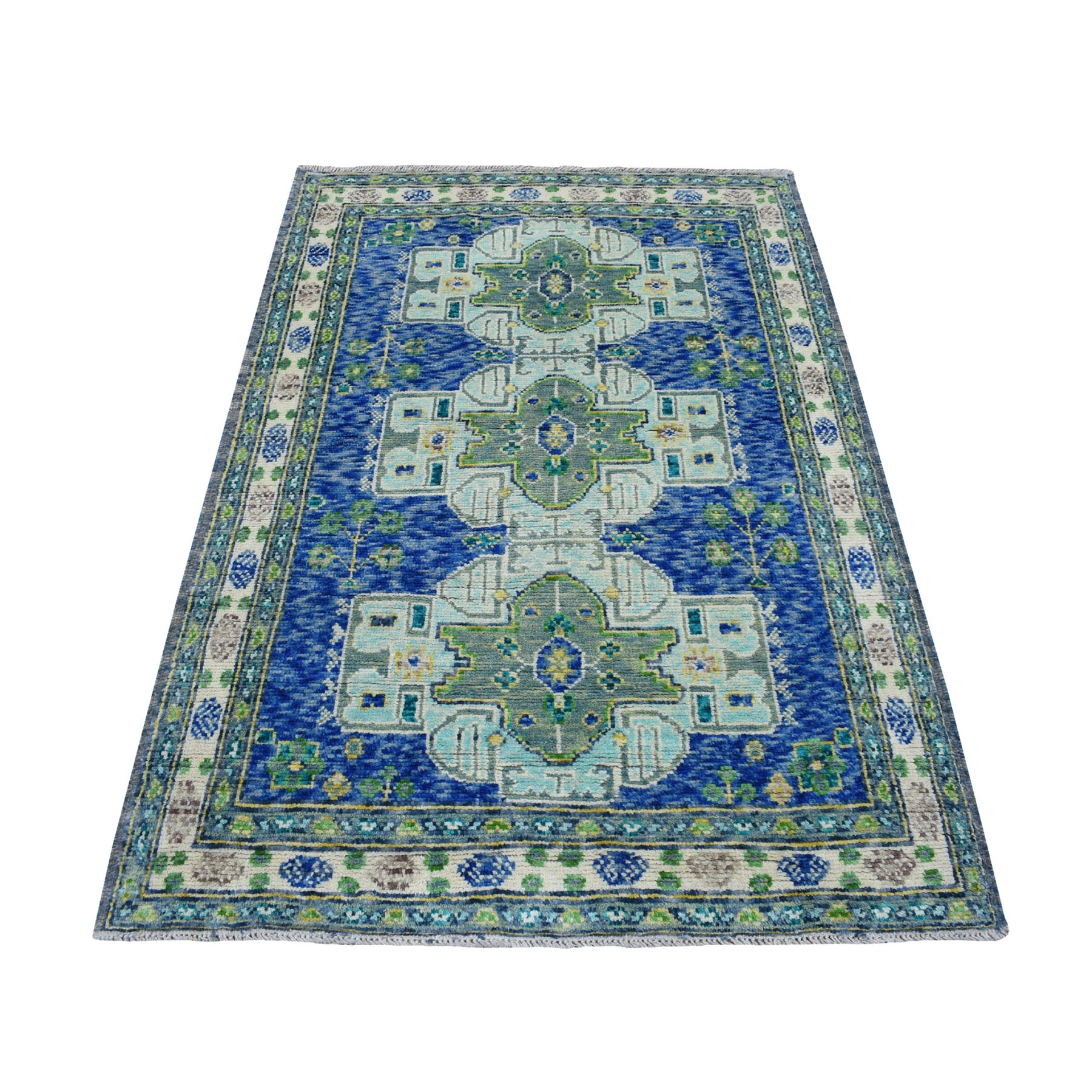 4'X6' Gray Geometric Design Colorful Afghan Baluch Hand Knotted Pure Wool Oriental Rug moaecad0