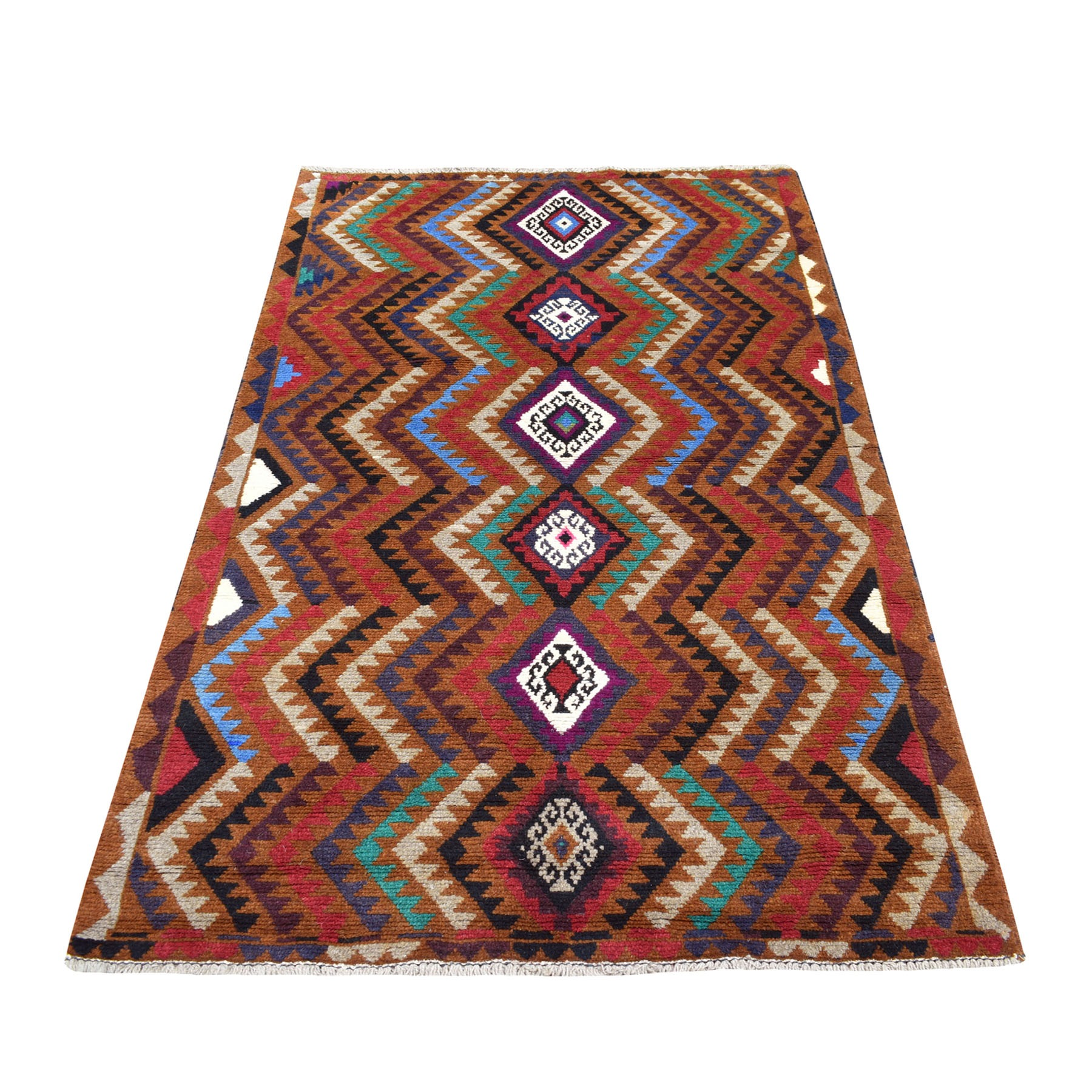"3'7""x6'1"" Brown Natural Dyes Geometric Design Colorful Afghan Baluch Hand Knotted 100% Wool Oriental Rug"