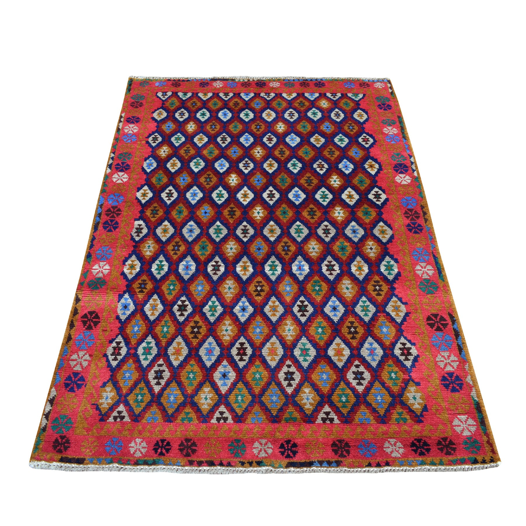 "4'x6'1"" Blue All Over Design Colorful Afghan Baluch Hand Knotted Pure Wool Oriental Rug"