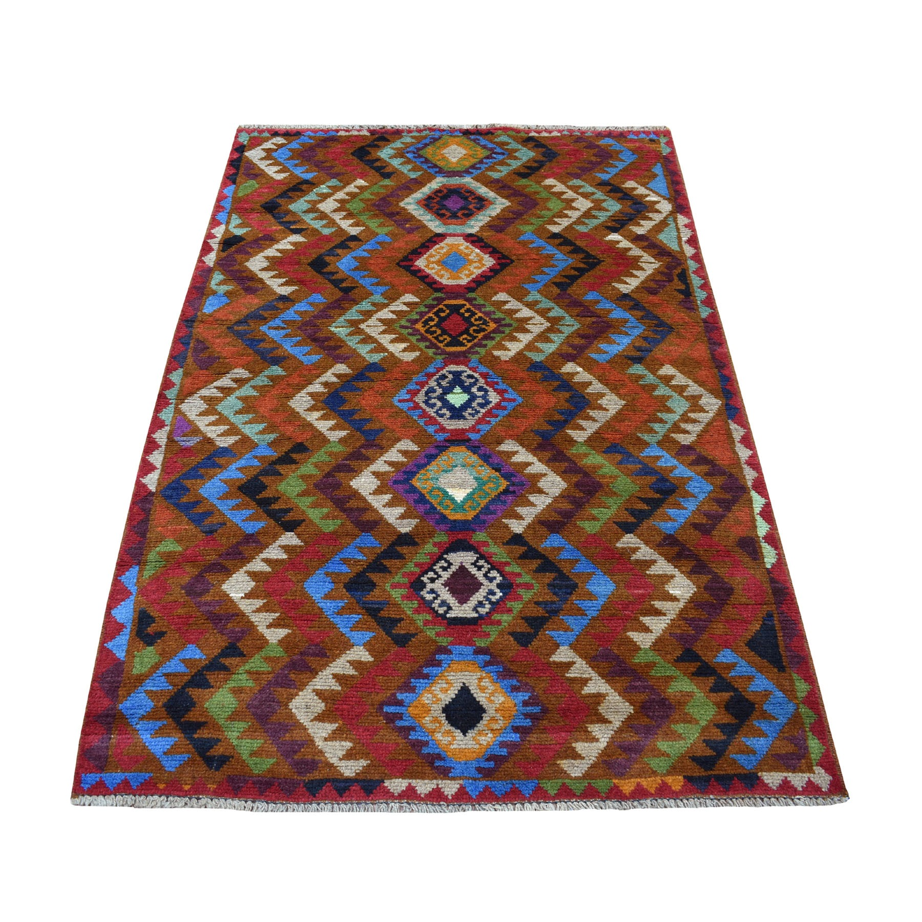 "3'9""x6' Brown Hand Knotted Colorful Afghan Baluch Geometric Design Pure Wool Oriental Rug"