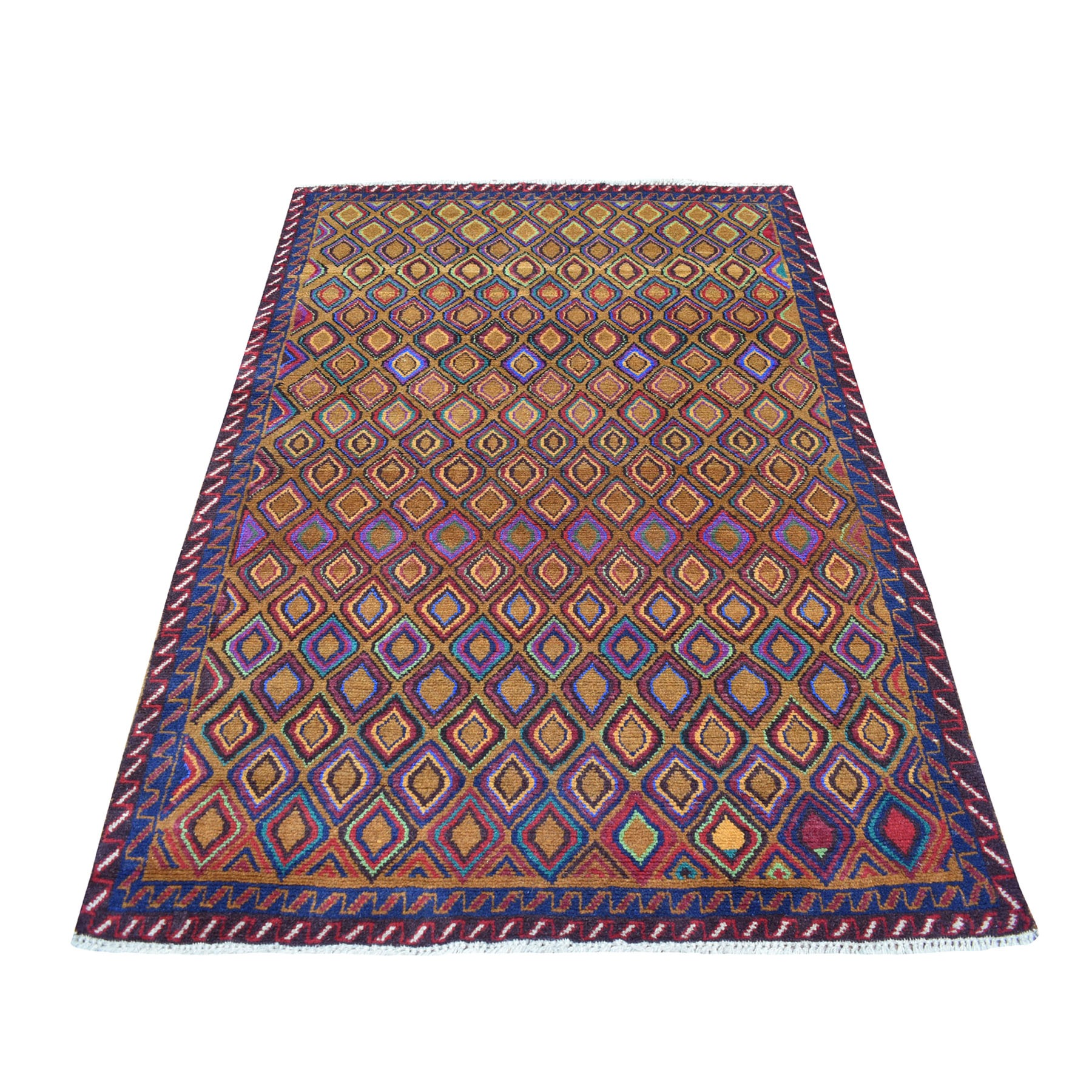 "4'3""X6'2"" Brown Tribal Design Colorful Afghan Baluch Pure Wool Hand Knotted Oriental Rug moaecade"