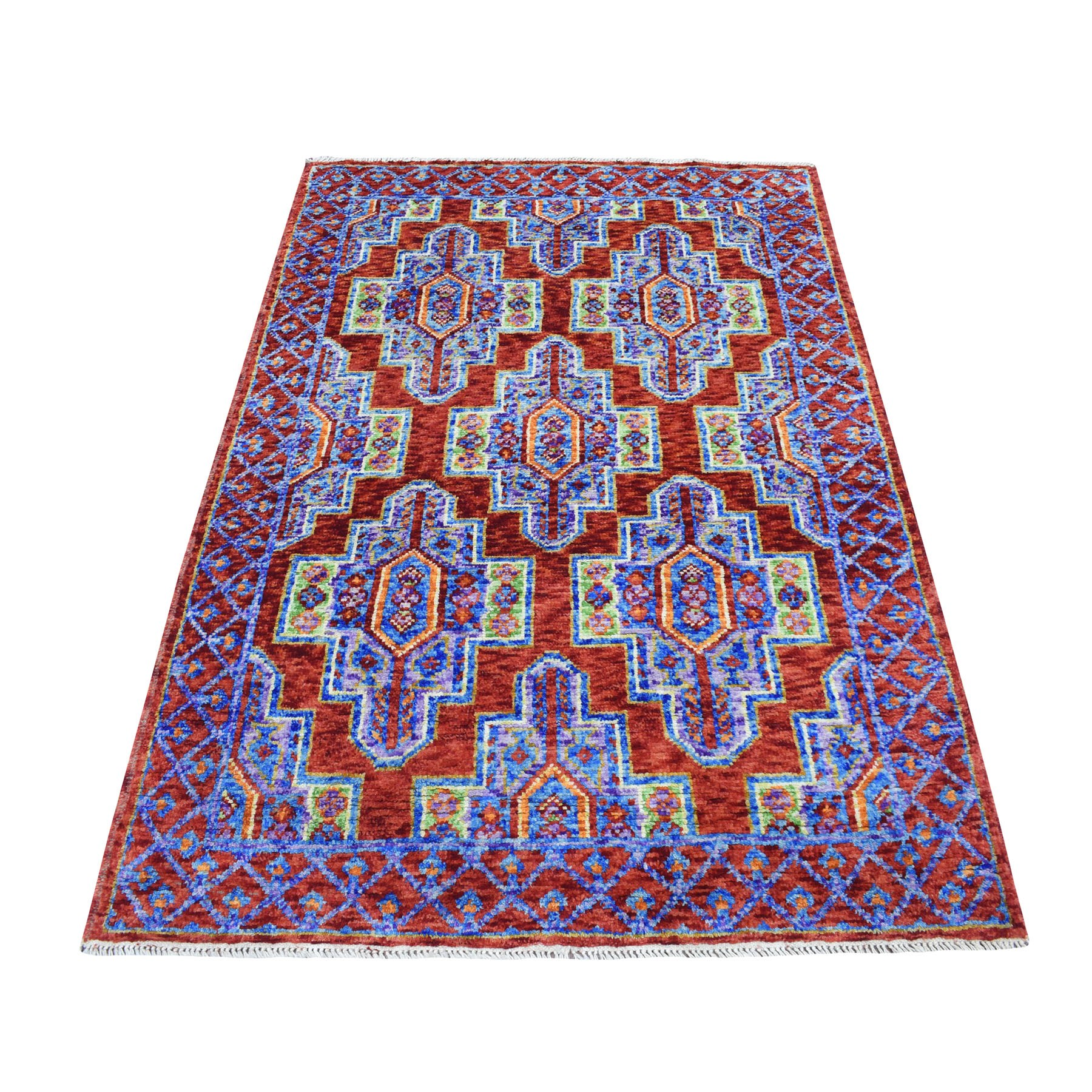 4'x6' Colorful Afghan Baluch Geometric Design Natural Dyes 100% Wool Hand Knotted Oriental Rug