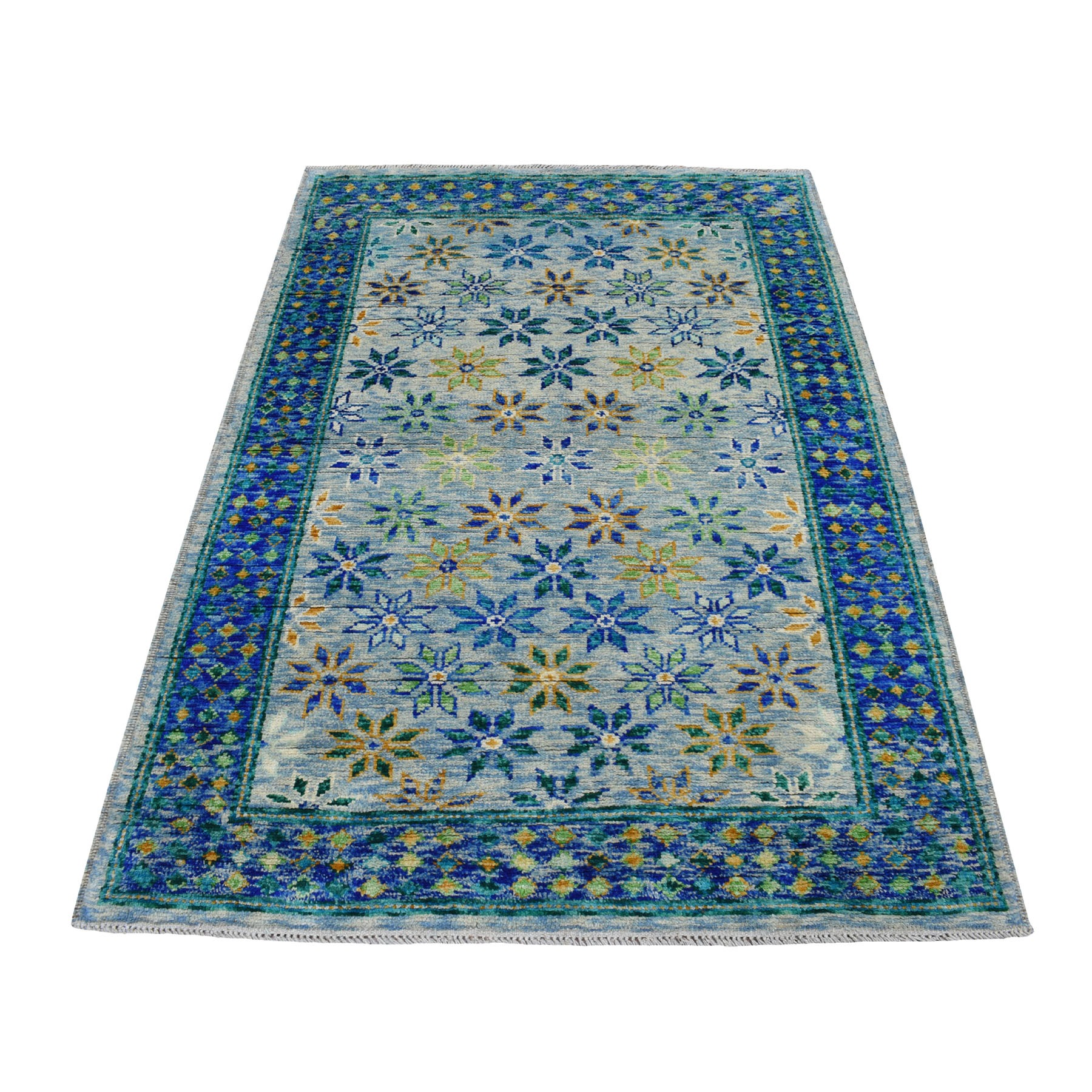 "4'1""x6' Blue All Over Design Colorful Afghan Baluch Pure Wool Hand Knotted Oriental Rug"