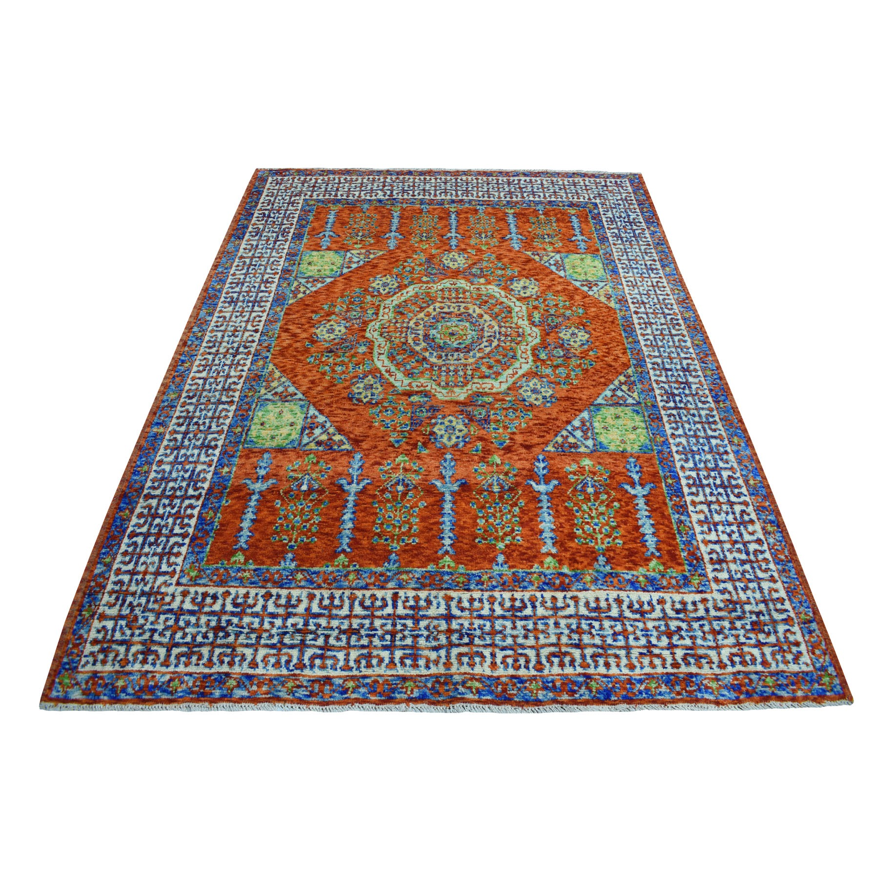 "5'9""x7'7"" Natural Dyes Mamluk Desing Colorful Afghan Baluch Pure Wool Hand Knotted Oriental Rug"