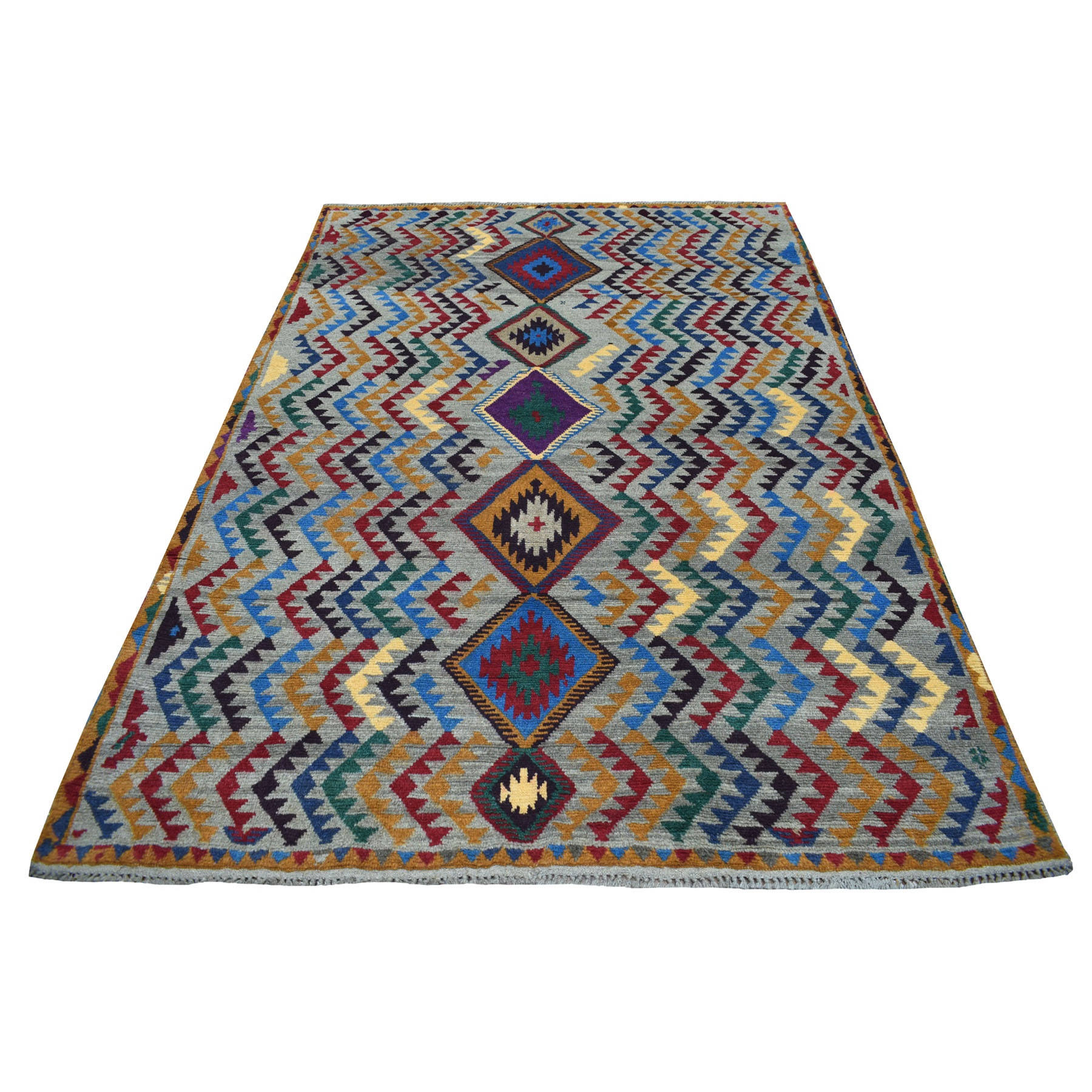 "5'8""x7'6"" Gray Tribal Design Colorful Afghan Baluch 100% Wool Hand Knotted Oriental Rug"