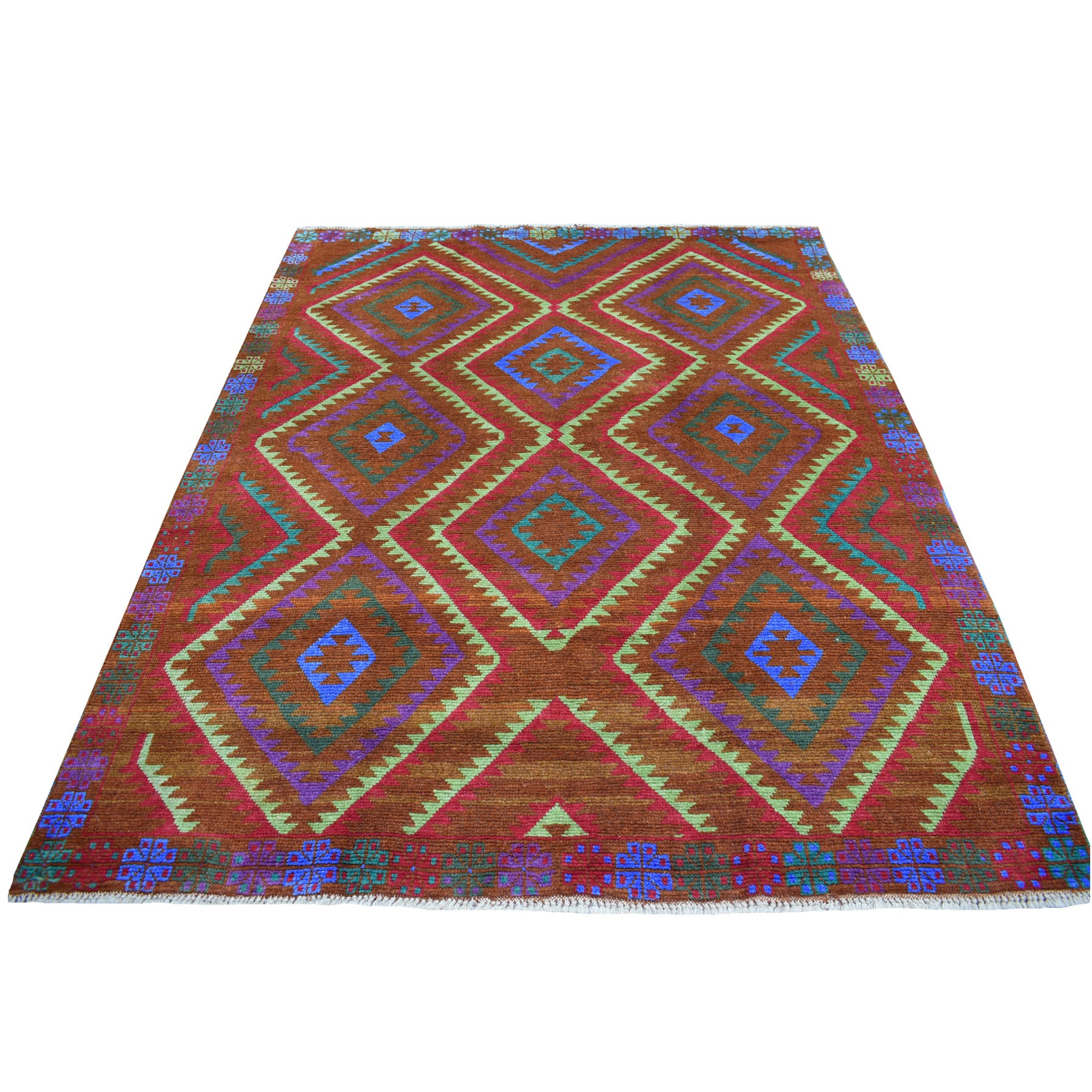 "6'1""x7'8"" Brown Colorful Afghan Baluch Geometric Design Hand Knotted 100% Wool Oriental Rug 53150"