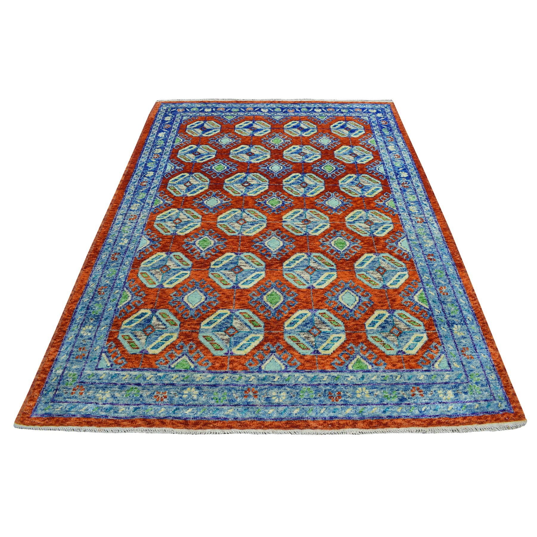 "5'10""x8' Orange Colorful Afghan Baluch Geometric Design Hand Knotted 100% Wool Oriental Rug"