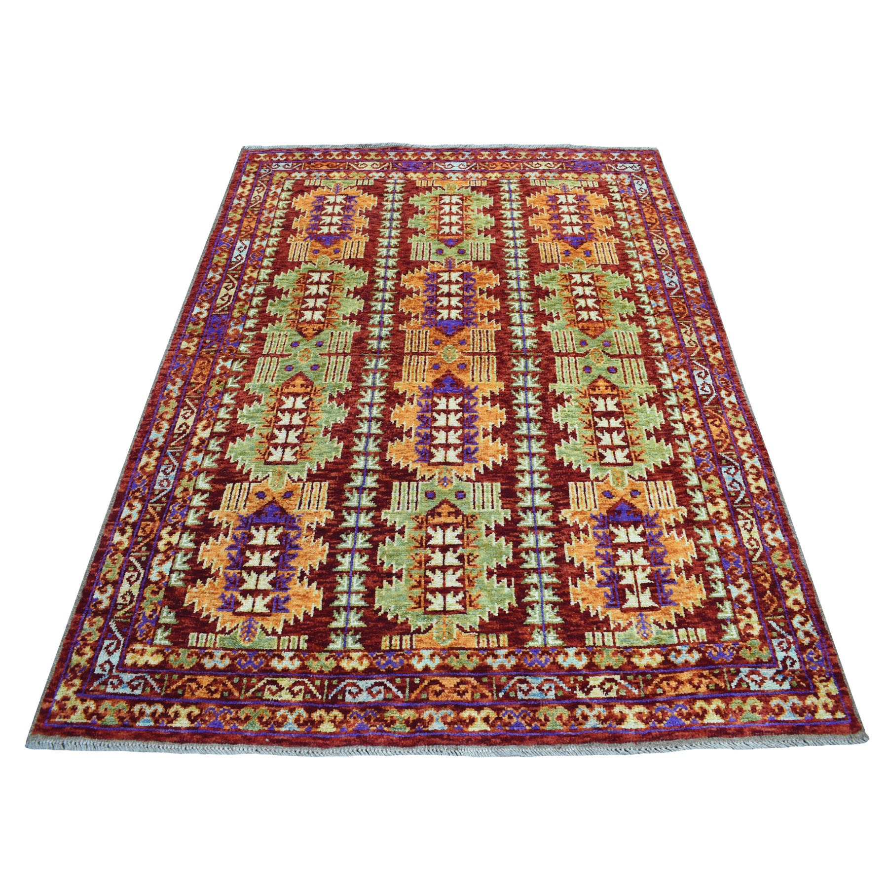 "5'X6'9"" Red Colorful Afghan Baluch Tribal Design Hand Knotted Pure Wool Oriental Rug moaecaeb"