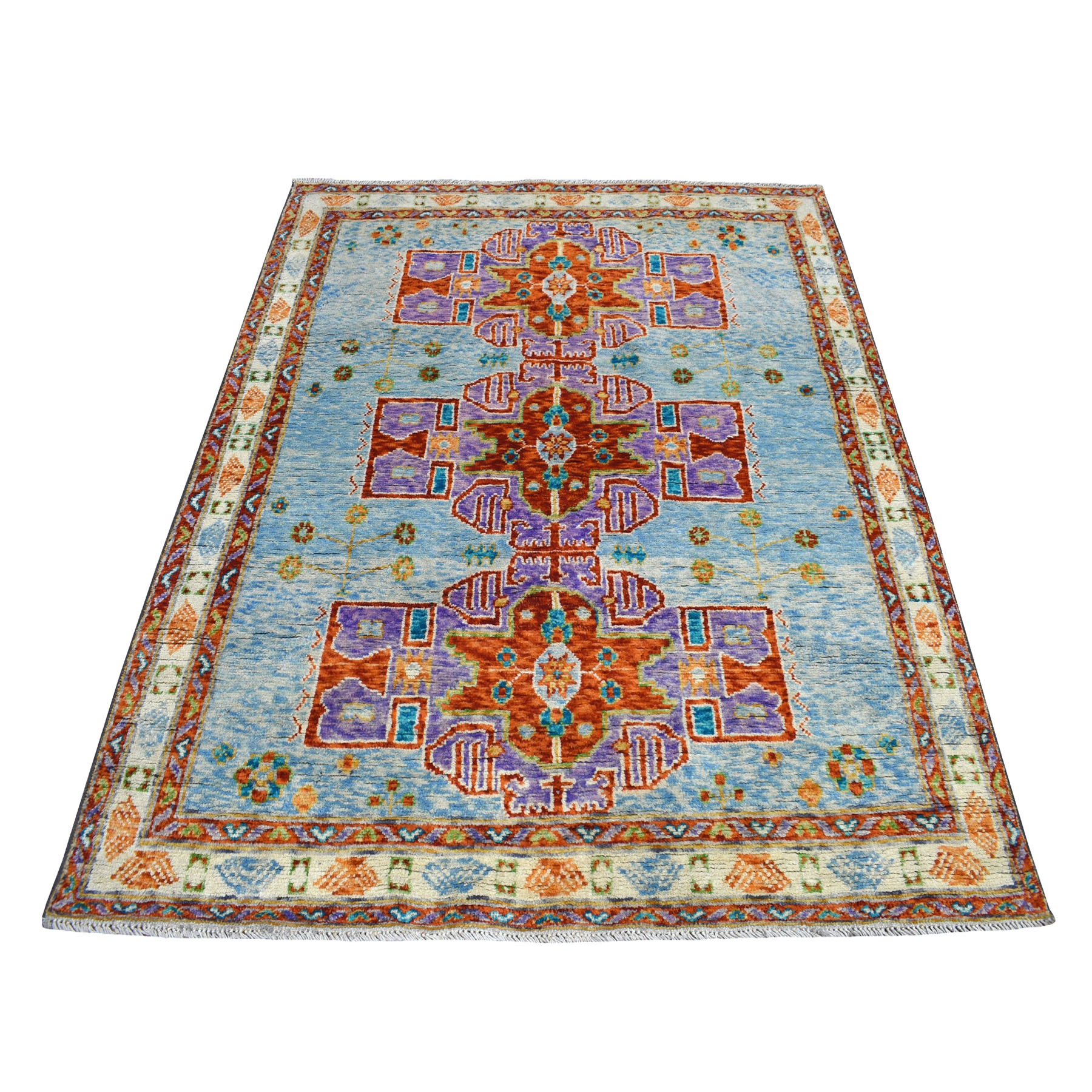 "5'1""x6'5"" Natural Dyes Colorful Afghan Baluch Geometric Design Hand Knotted 100% Wool Oriental Rug"