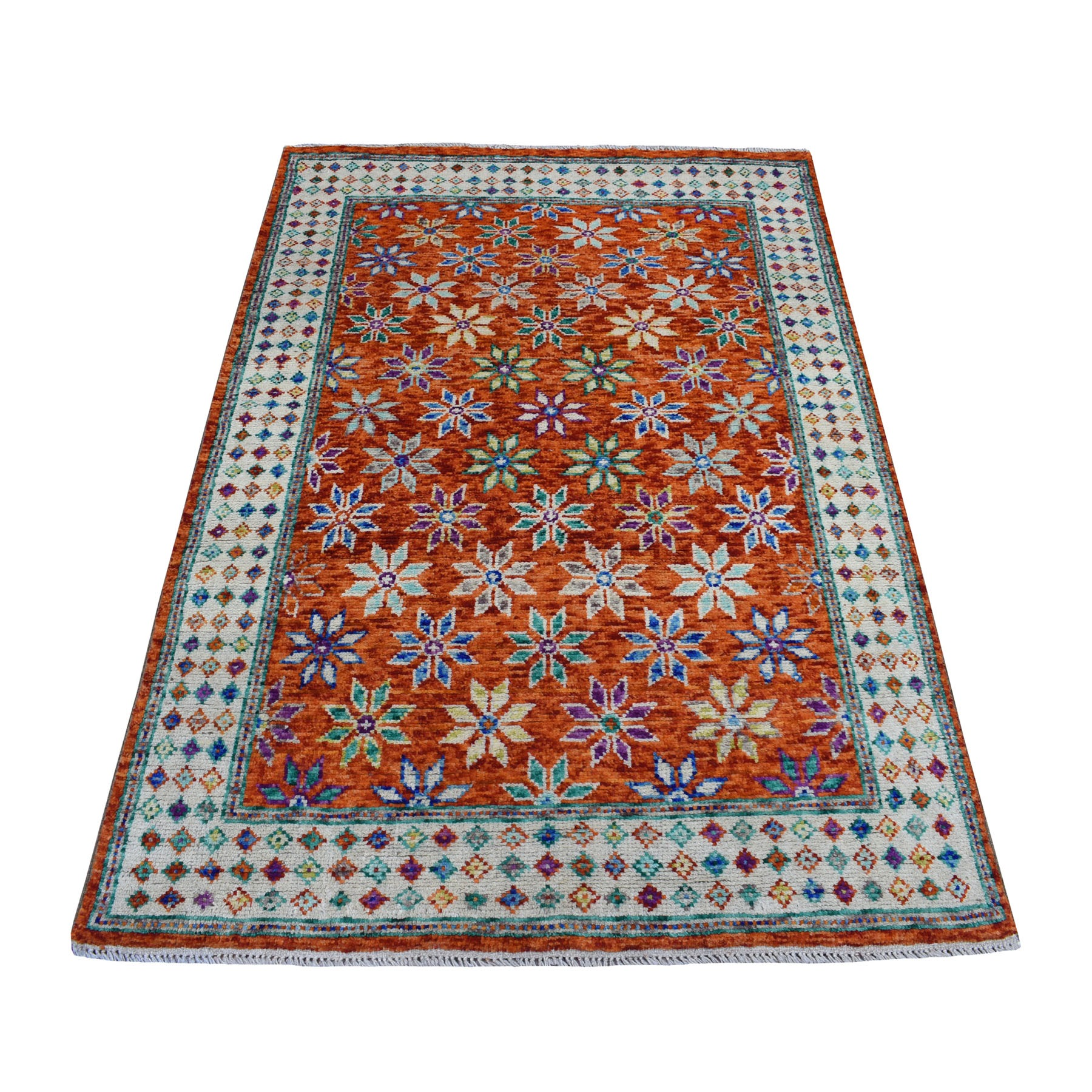 "4'x5'9"" Orange Hand Knotted Colorful Afghan Baluch All Over Design 100% Wool Oriental Rug"