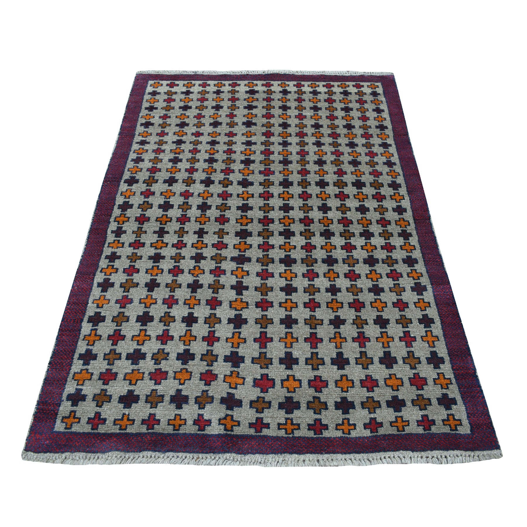"4'x5'8"" Gray Tribal Design Colorful Afghan Baluch Hand Knotted Pure Wool Oriental Rug"