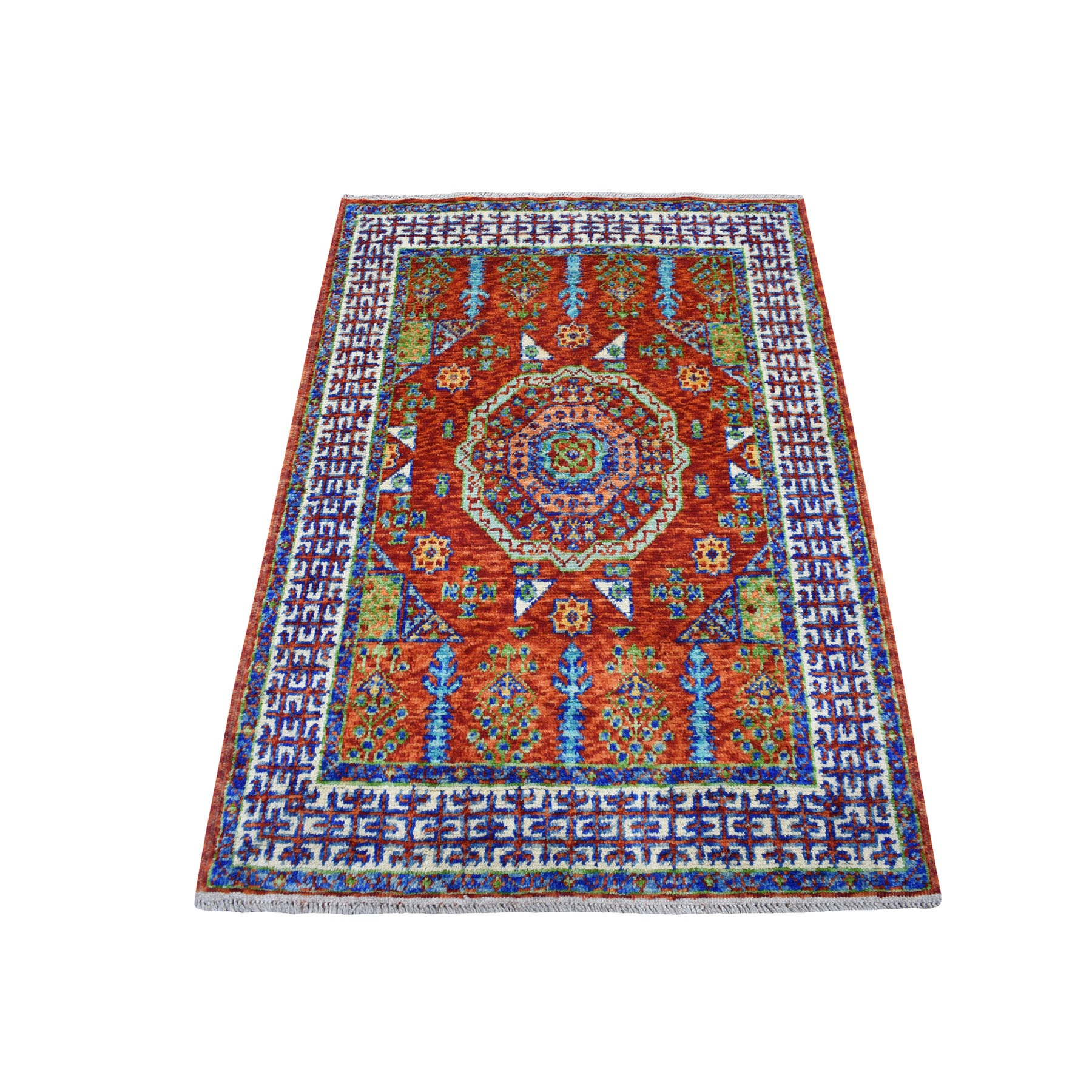 "3'6""x4'9"" Orange Mamluk Design Colorful Afghan Baluch Hand Knotted 100% Wool Oriental Rug"